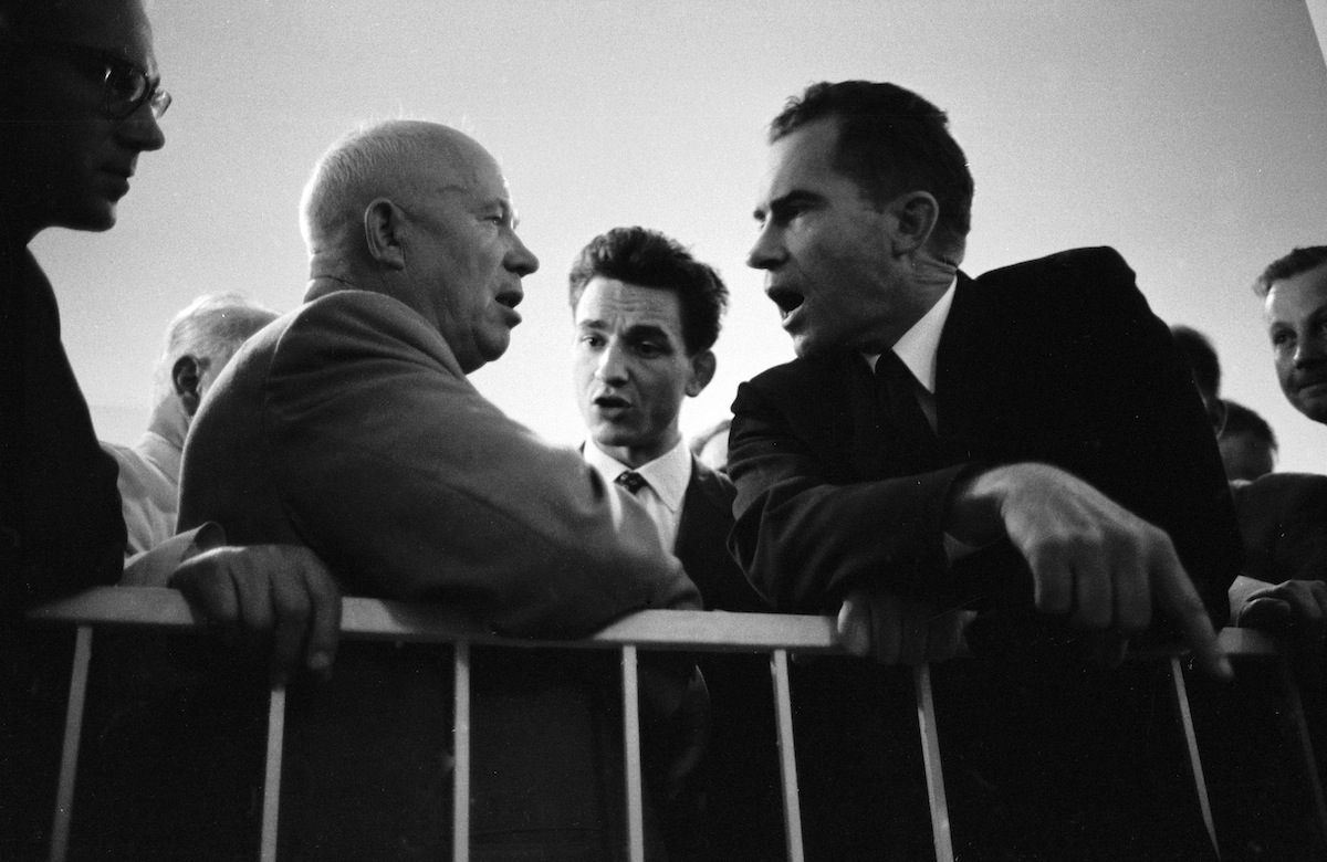 Richard Nixon makes a point during an argument with Soviet Premier Nikita Khrushchev, Moscow,, July 25, 1959.