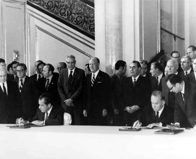 President Richard Nixon and Soviet Premier Alexei Kosygin sign an agreement in May of 1972 that paved the way for the Apollo–Soyuz mission.
