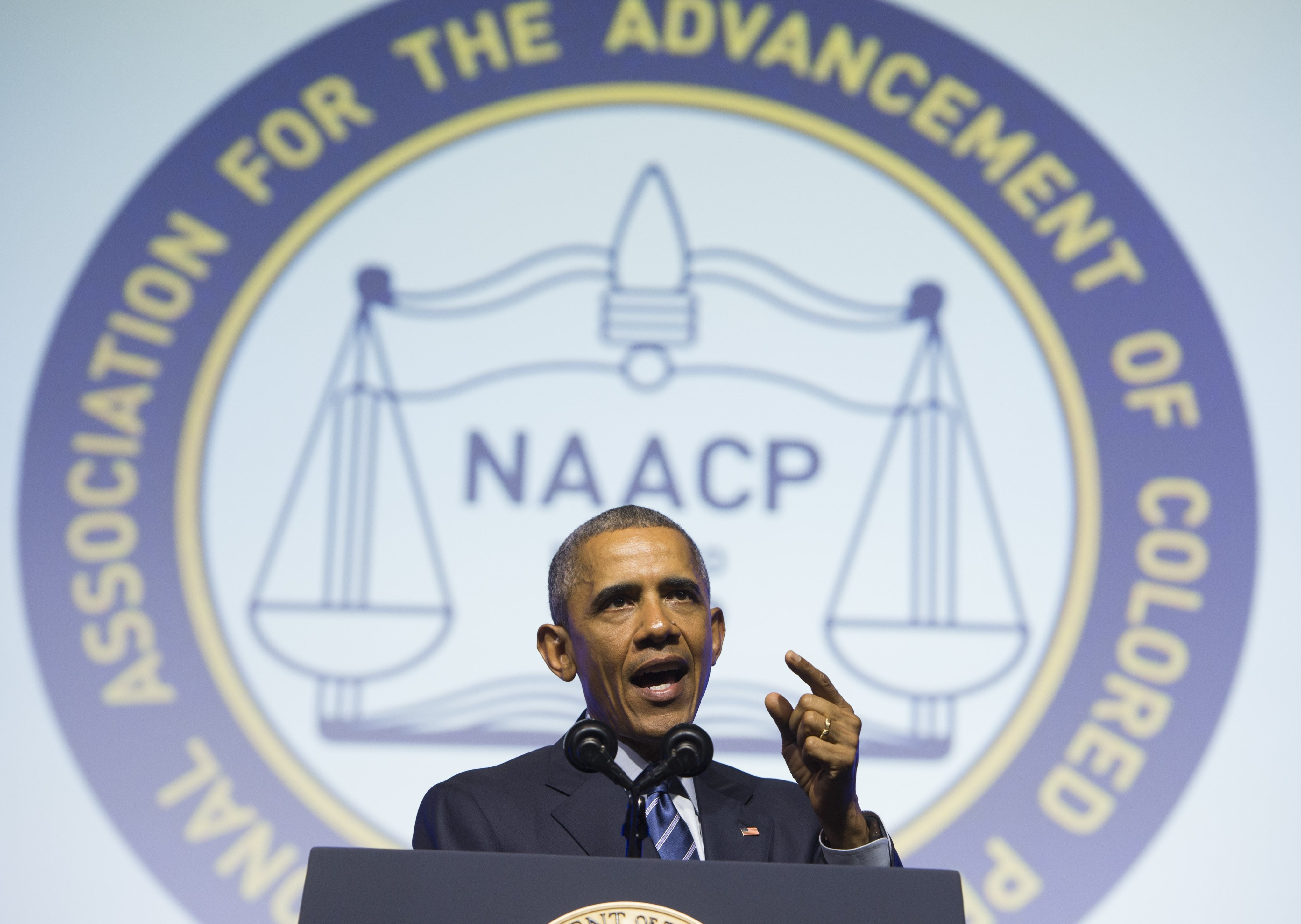 President Barack Obama speaks during the NAACP's 106th National Convention in Philadelphia on July 14, 2015.
