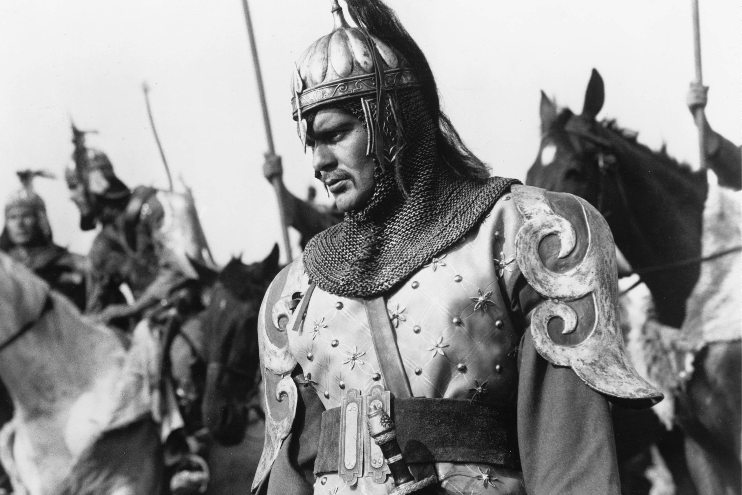 Omar Sharif plays the titular role of Gengis Khan in Gengis Khan, 1965.