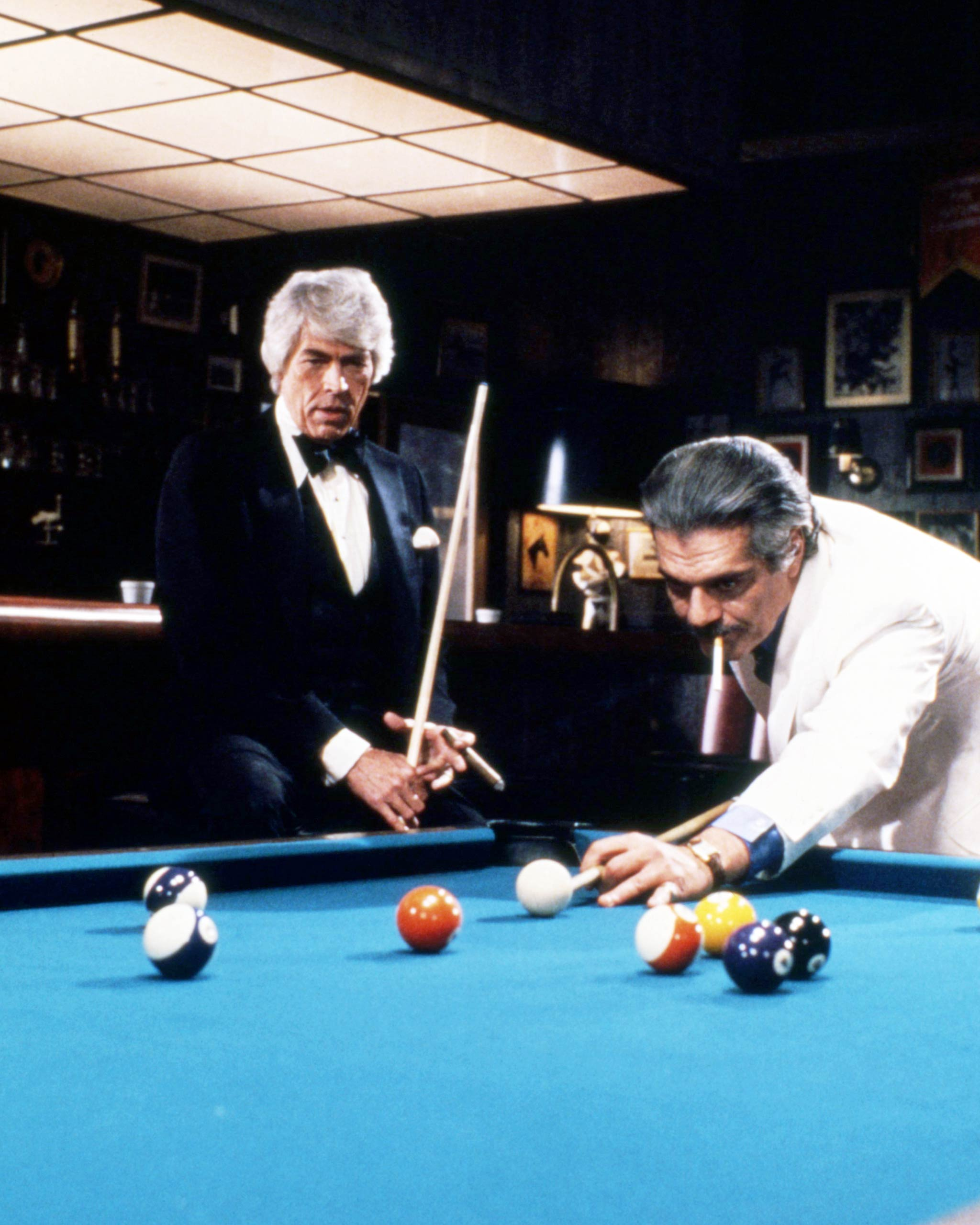 James Coburn, left, and Omar Sharif starred together in The Baltimore Bullet, 1980.
