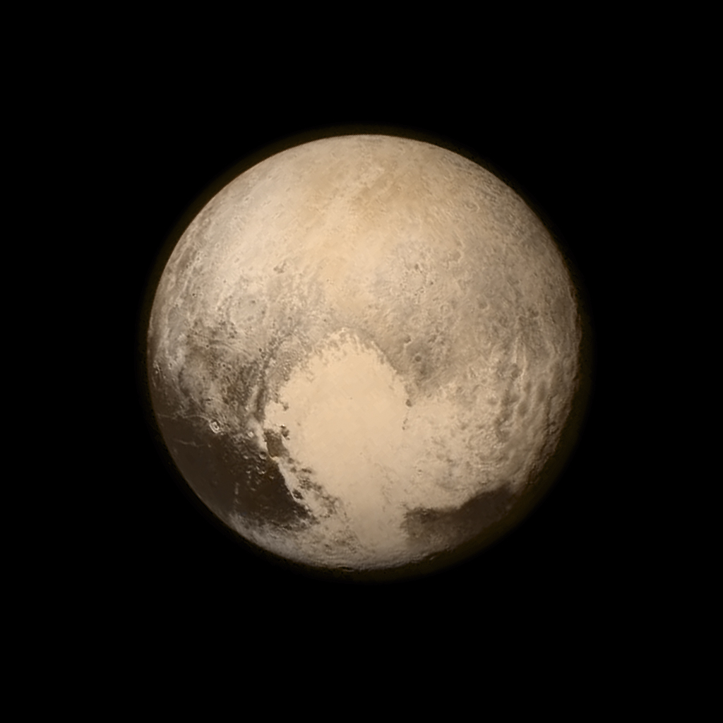 Pluto nearly fills the frame in this image from the Long Range Reconnaissance Imager (LORRI) aboard NASA's New Horizons spacecraft, taken on July 13, 2015, when the spacecraft was 476,000 miles (768,000 kilometers) from the surface. This is the last and most detailed image sent to Earth before the spacecraft's closest approach to Pluto on July 14.
