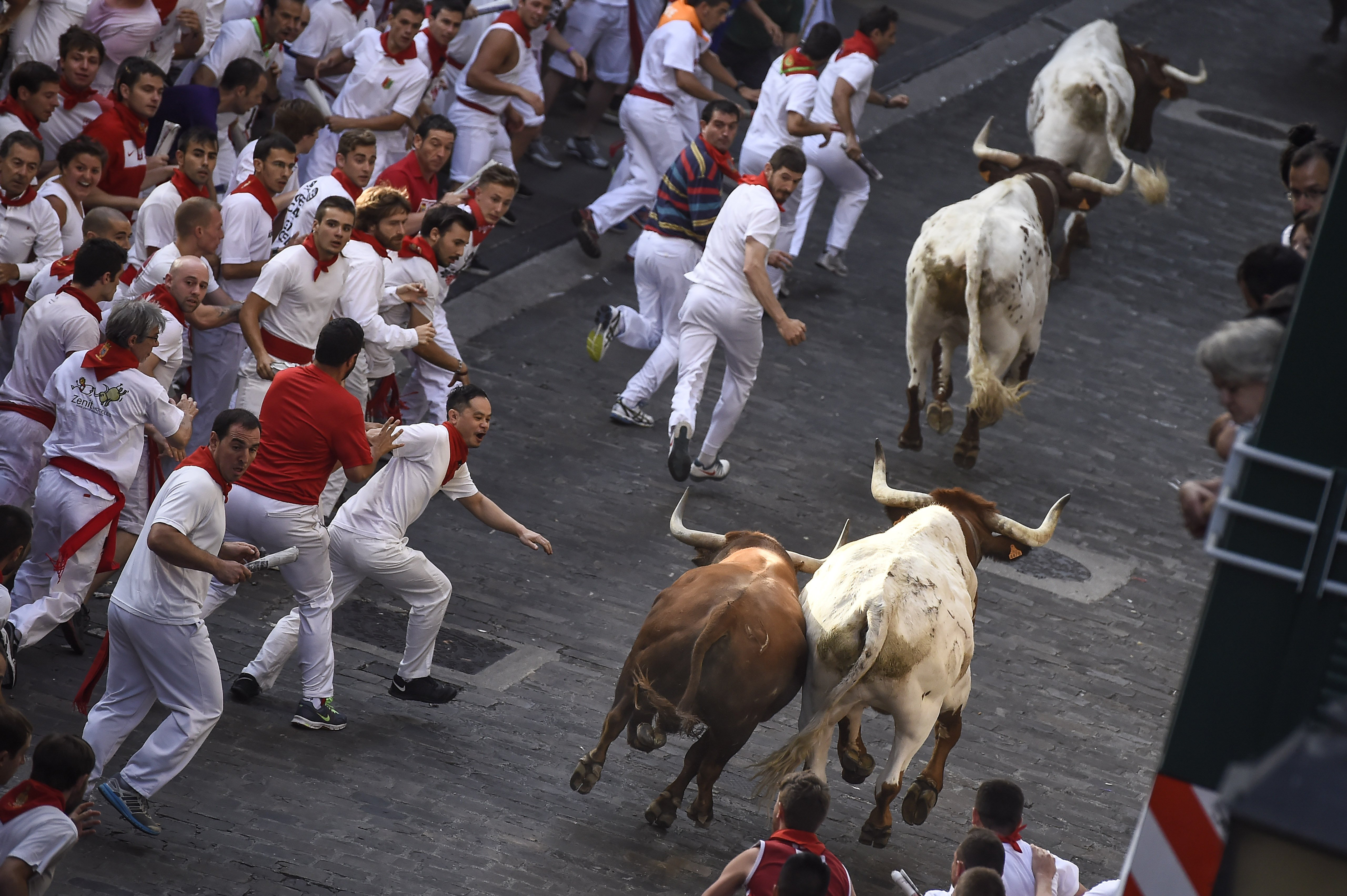 Runners on Santo Domingo way run beside Jandilla fighting bulls during the running of the bulls at the San Fermin Festival in Pamplona, Spain on July 7, 2015.