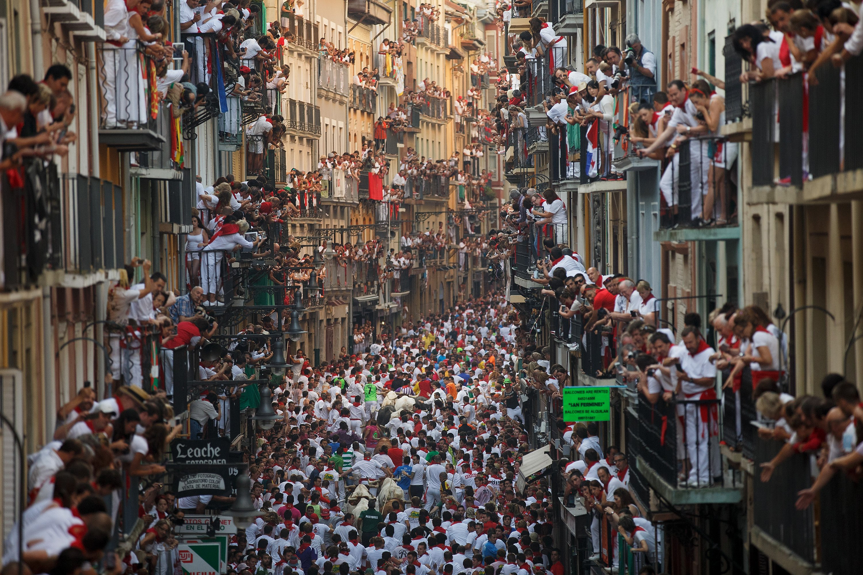 Revellers run with Jandilla's fighting bulls along the Calle Estafeta during the second day of the San Fermin Running Of The Bulls festival on July 7, 2015 in Pamplona, Spain.