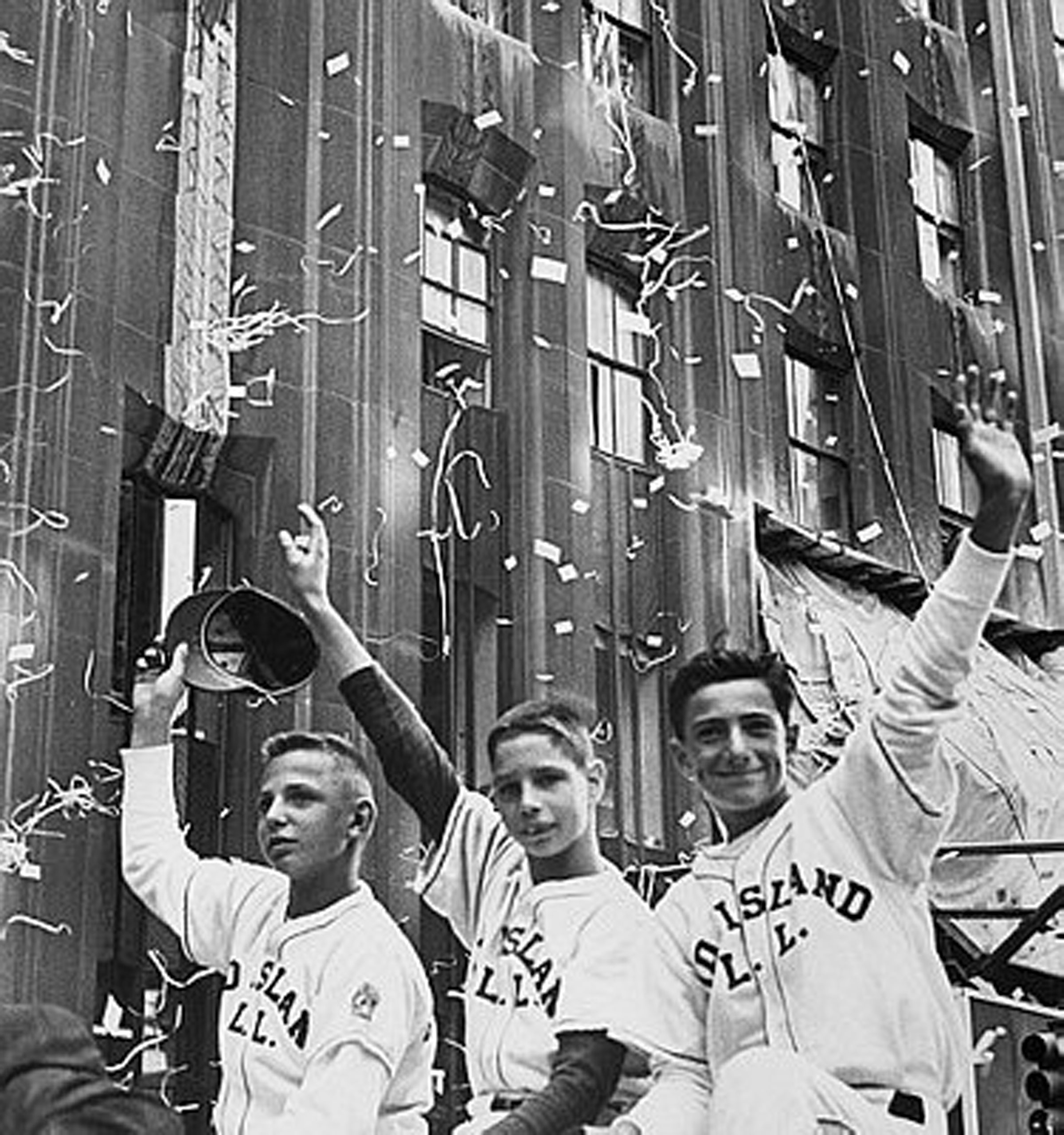 William Ebner, Gregory Klee, and Daniel Yaccarino, members of the Little League World Championship team, Staten Island's Mid-Island All-Stars, during a parade on Sept. 3, 1964.
