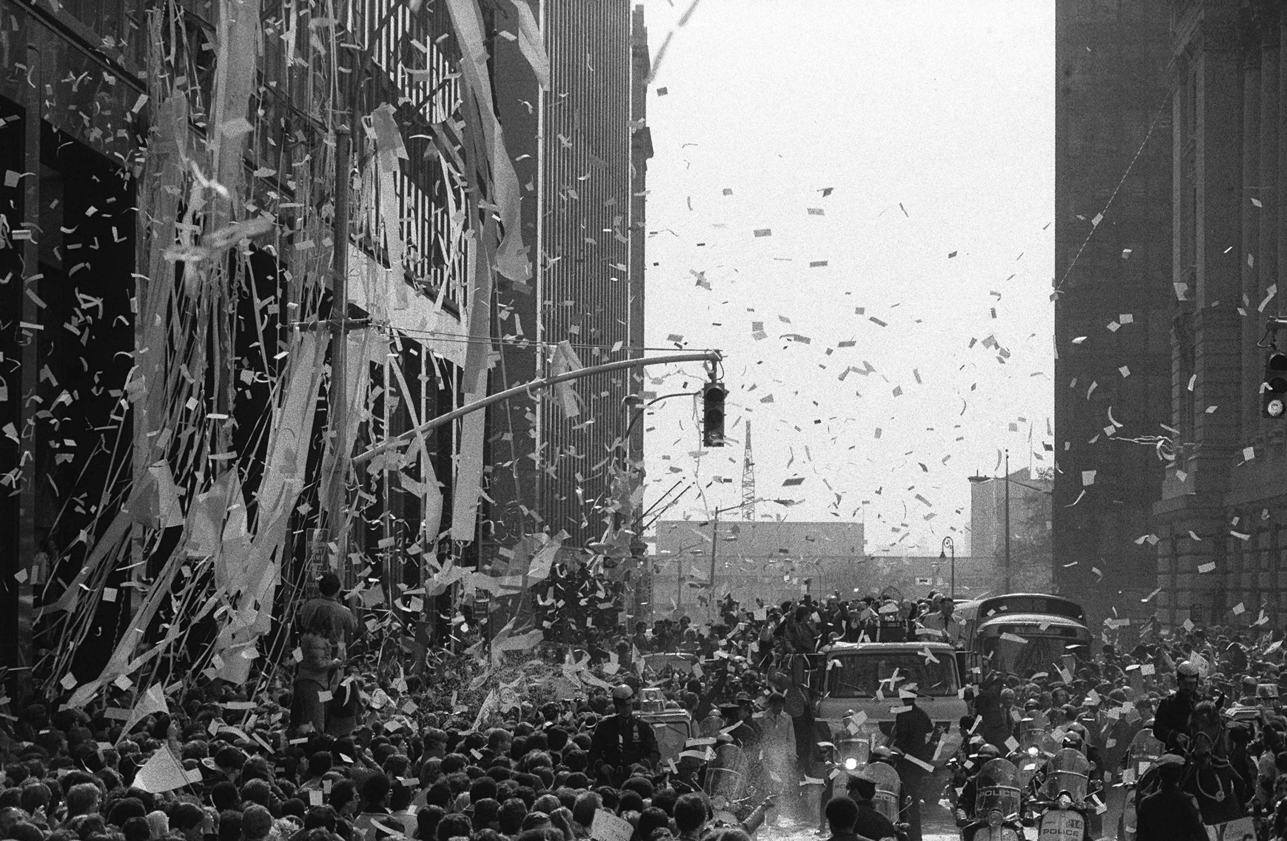 The New York Yankees ride in a ticker-tape parade in lower Manhattan on Oct. 19, 1978, after winning the  World Series.