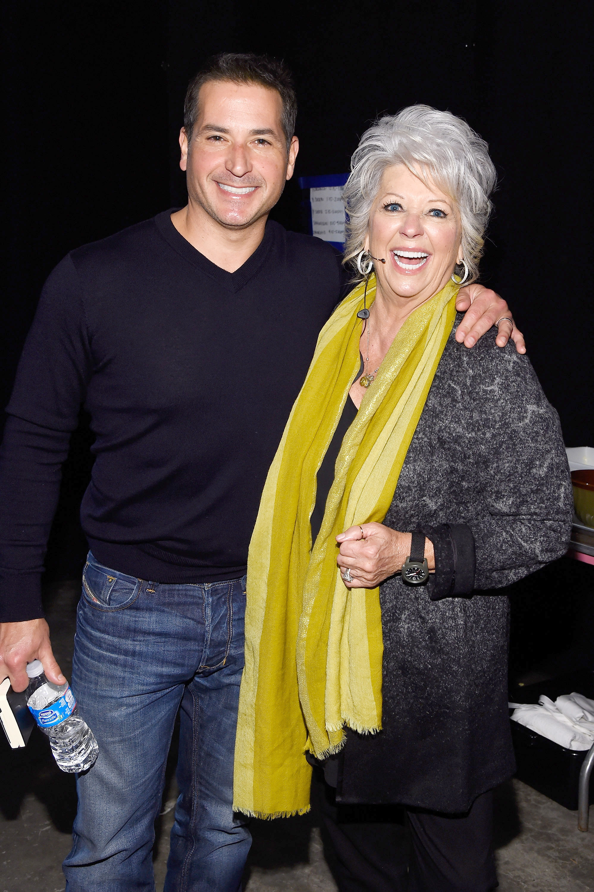 Chefs Bobby Deen and Paula Deen pose backstage during the Food Network New York City Wine & Food Festival at Pier 94 on October 19, 2014 in New York City.