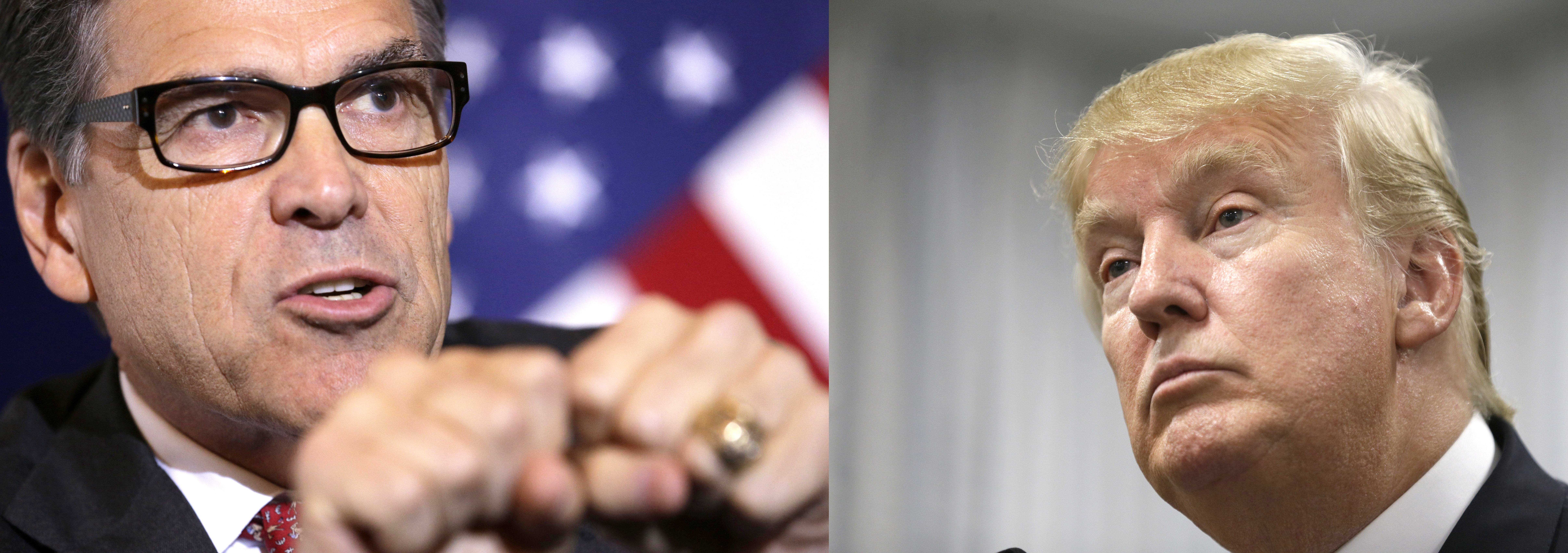 Republican presidential candidates Rick Perry and Donal Trump.