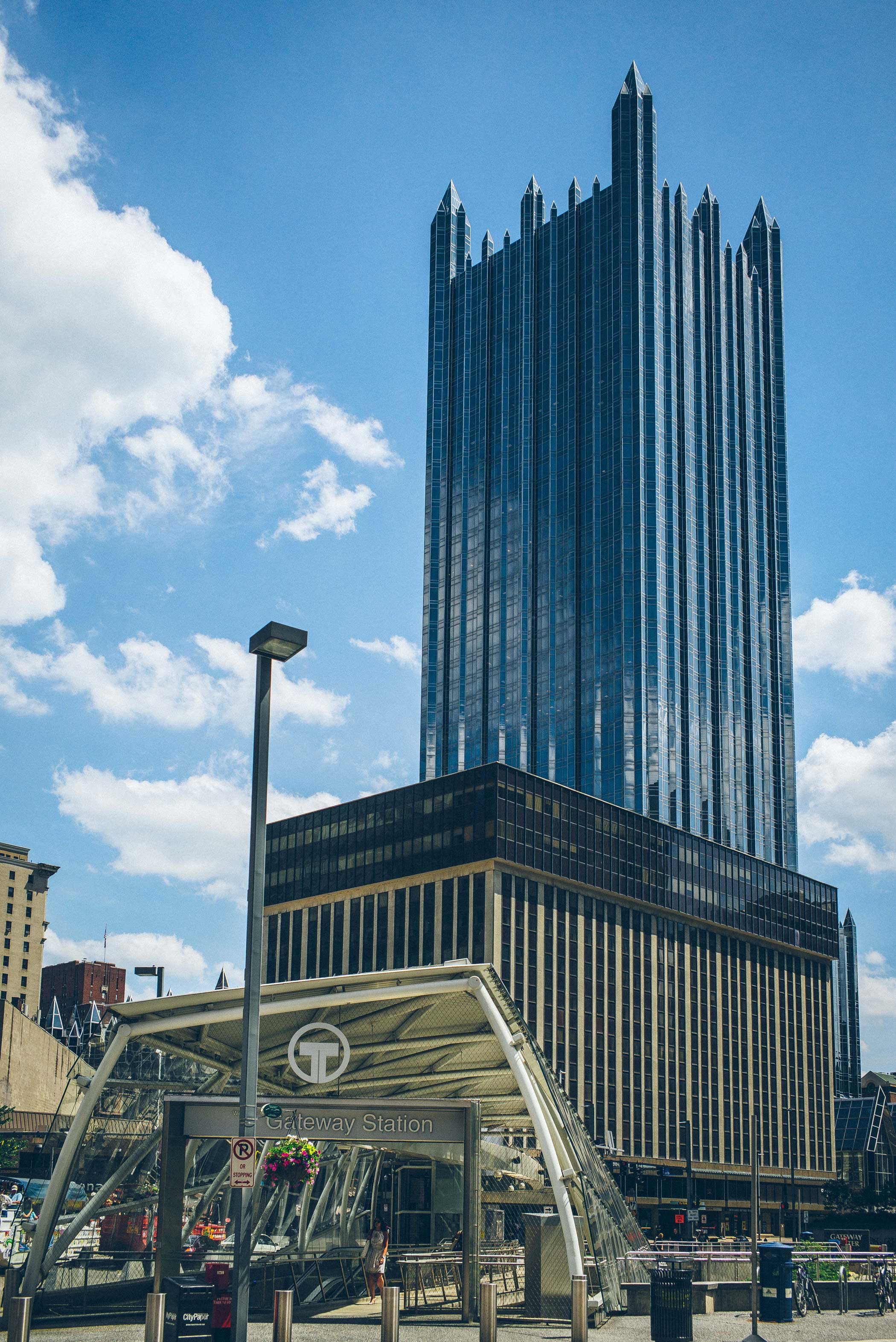 Gateway Pittsburgh Gateway Light Rail Station with PPG Place behind it on June 23, 2015.
