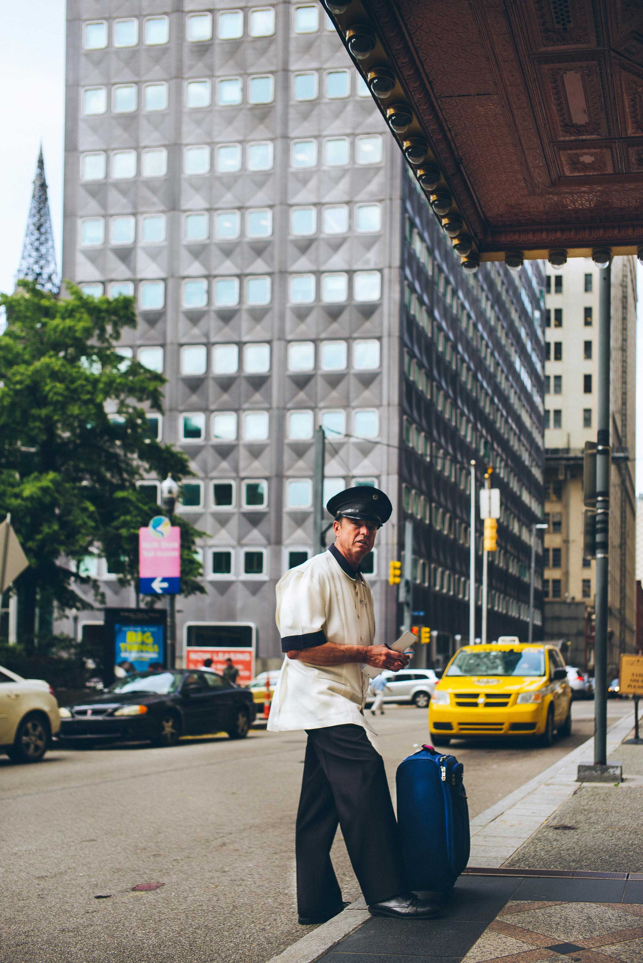 A doorman at the Omni William Penn Hotel on June 24, 2015.