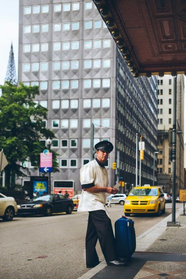 Doorman at the Omni William Penn Hotel on June 24, 2015.