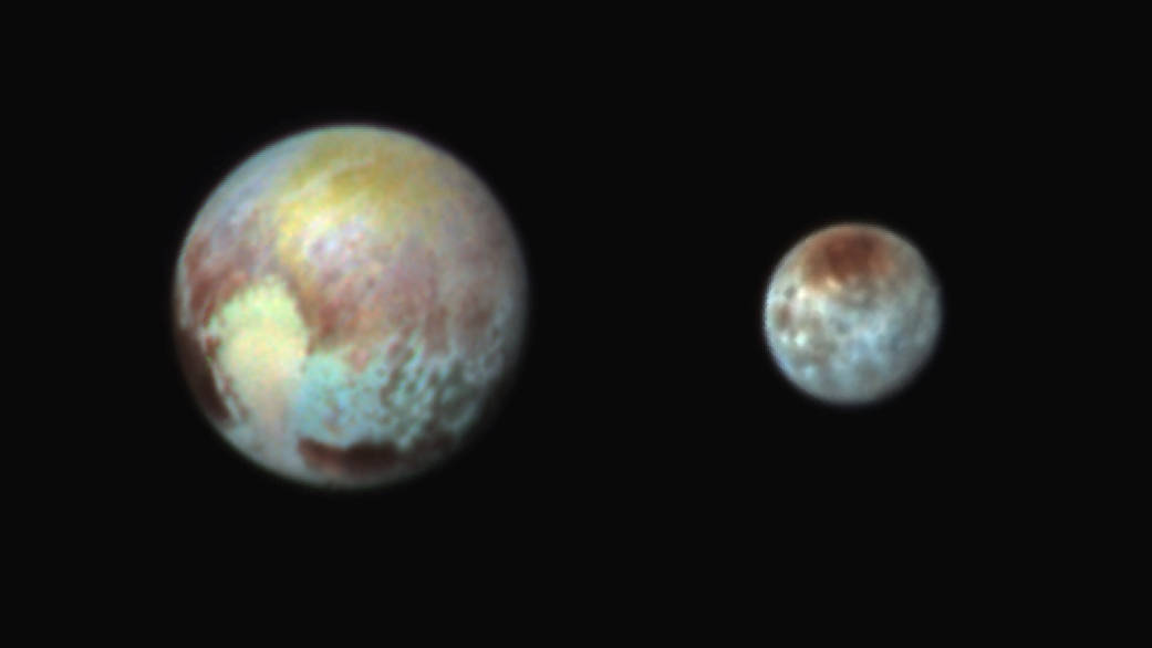 Pluto and Charon in False Color Show Compositional Diversity