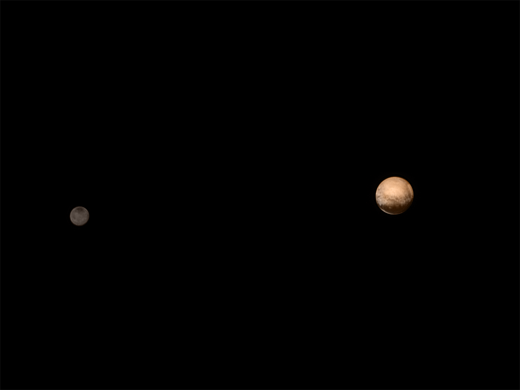 New Horizons was about 3.7 million miles (6 million kilometers) from Pluto and Charon when it snapped this portrait late on July 8, 2015. Color information obtained earlier in the mission from the Ralph instrument has been added.