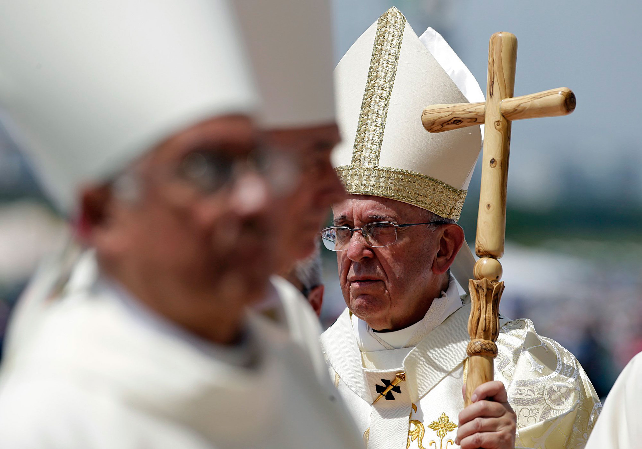 Pope Francis walks with his pastoral staff to celebrate a Mass in Guayaquil, Ecuador, on July 6, 2015.