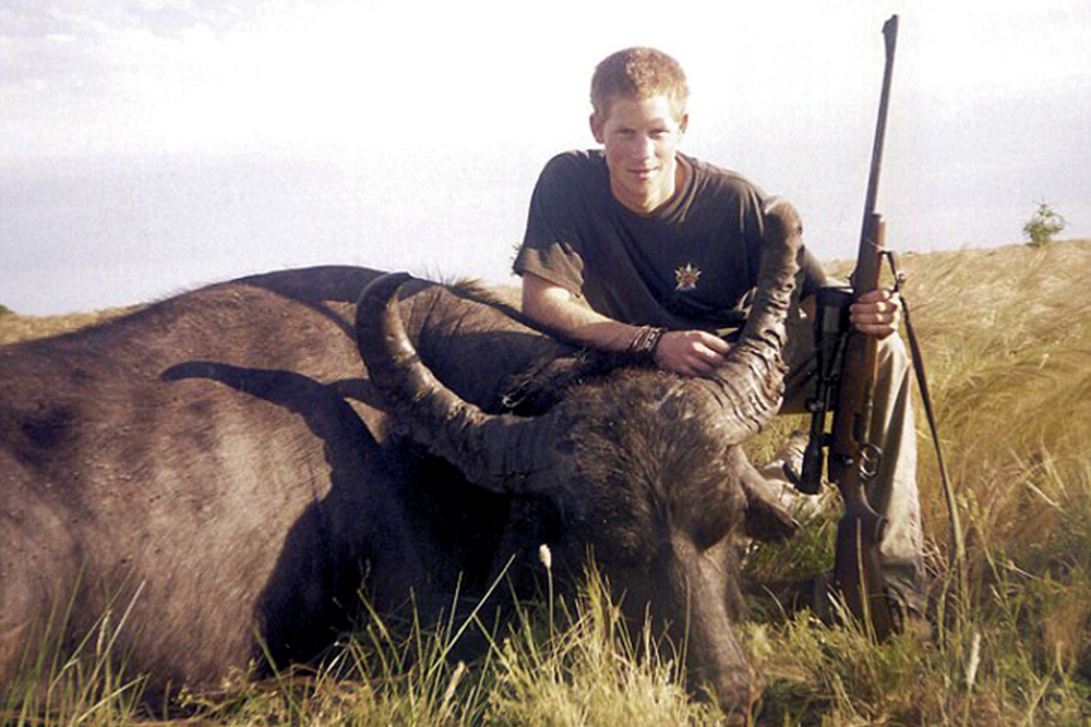Prince Harry crouches over a water buffalo he shot and killed in South America in 2004.