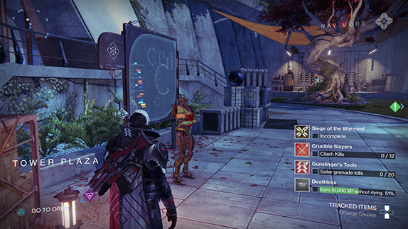 A screen shot of the new interface in Destiny 2.0