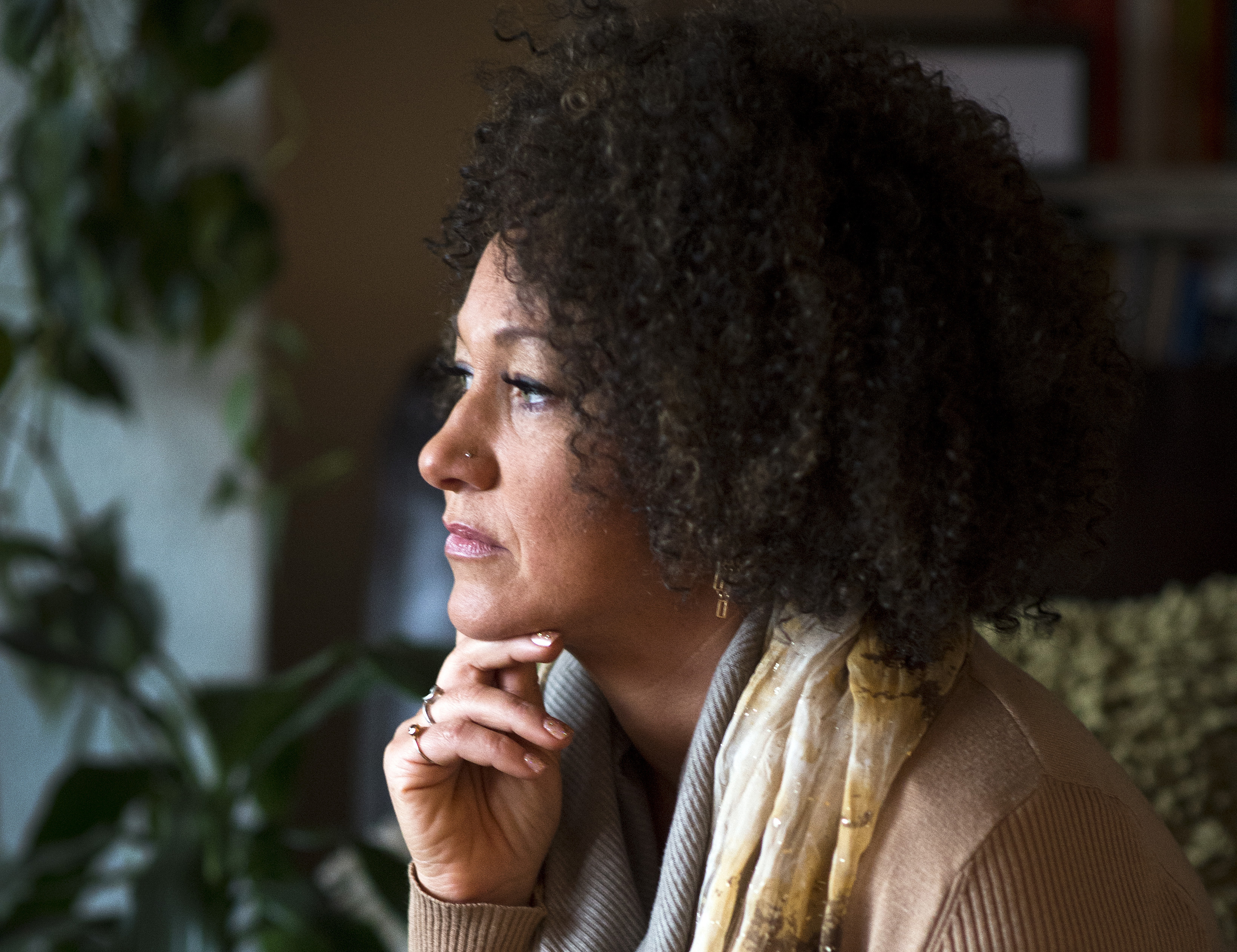 Rachel Dolezal, president of the Spokane chapter of the NAACP, poses for a photo in her Spokane, Wash., home on March 2, 2015.