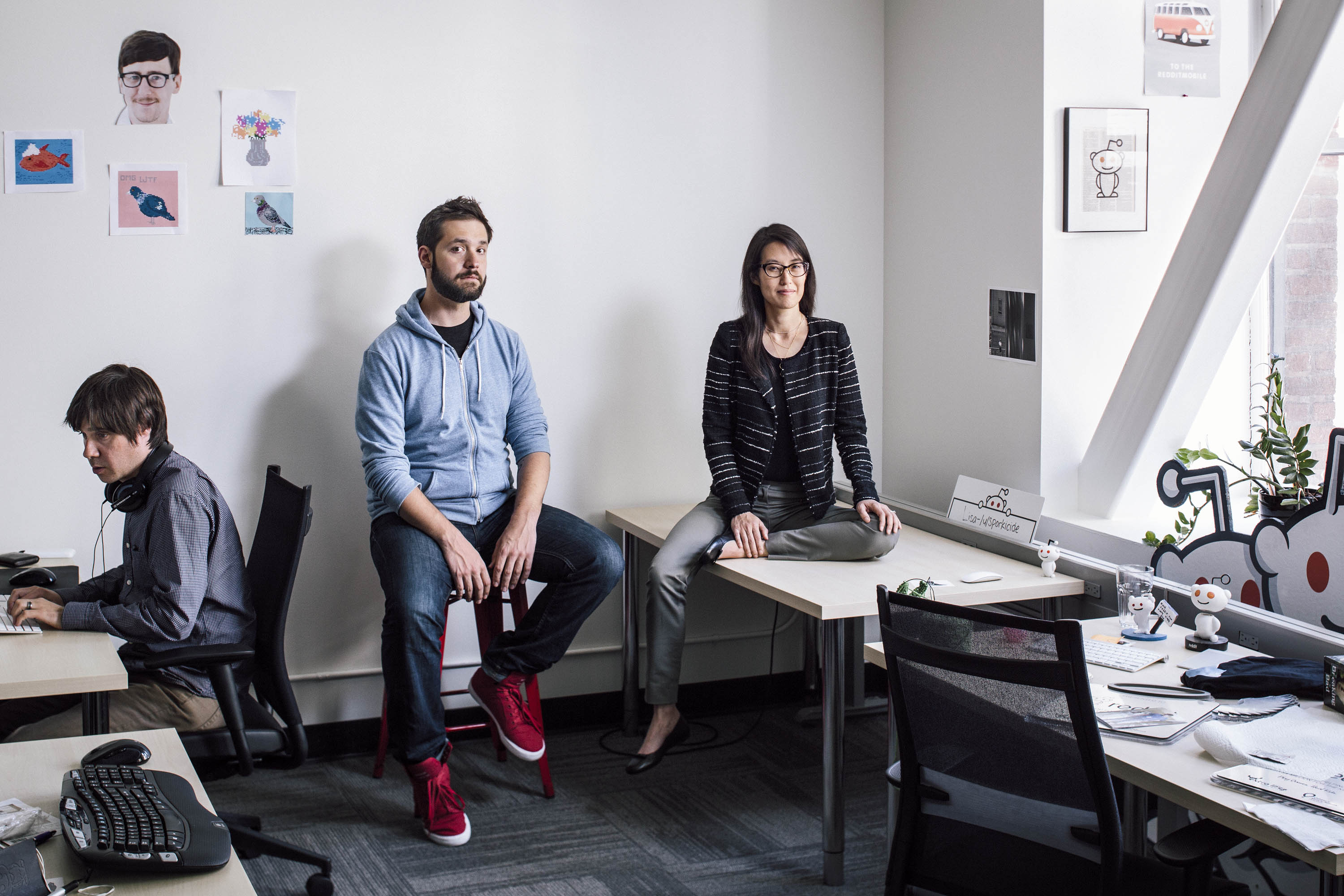 Reddit co-founder and executive chairman Alexis Ohanian and interim CEO Ellen Pao in the company's San Francisco headquarters.