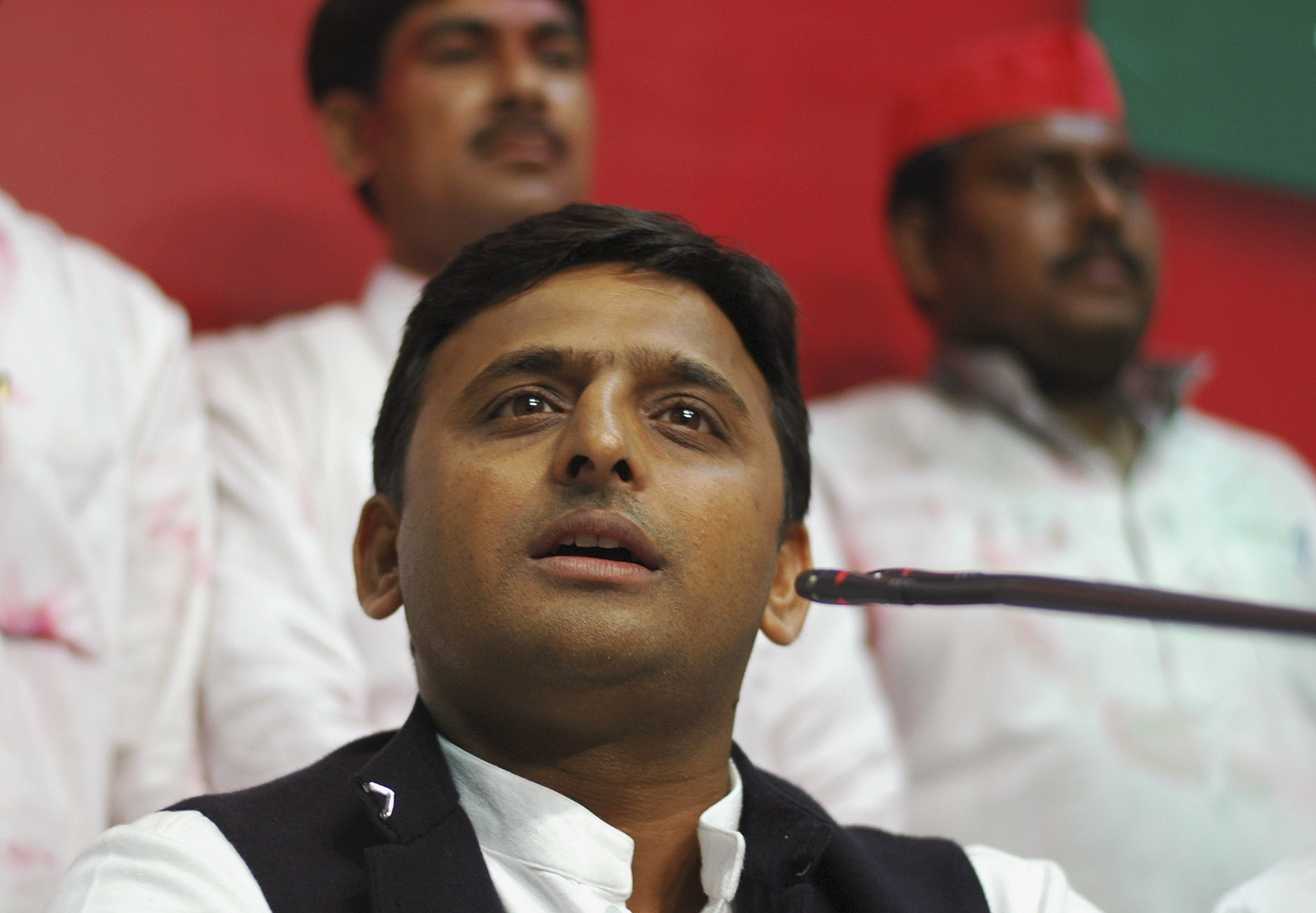 Akhilesh Yadav speaks during a news conference in the northern Indian city of Lucknow on March 6, 2012
