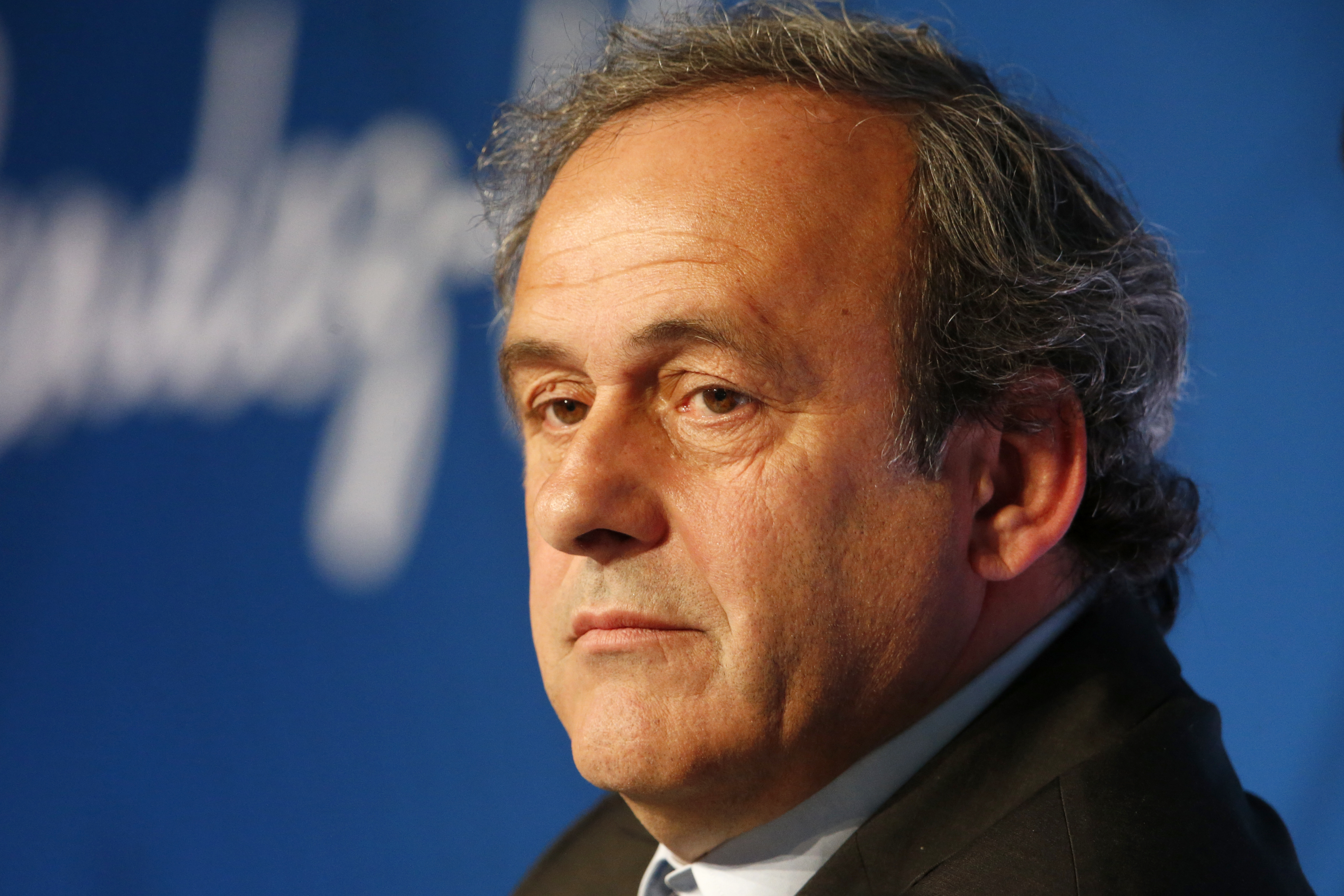 UEFA President Michel Platini holds a news conference a year before the start of Euro 2016, in Paris, France, June 10, 2015.