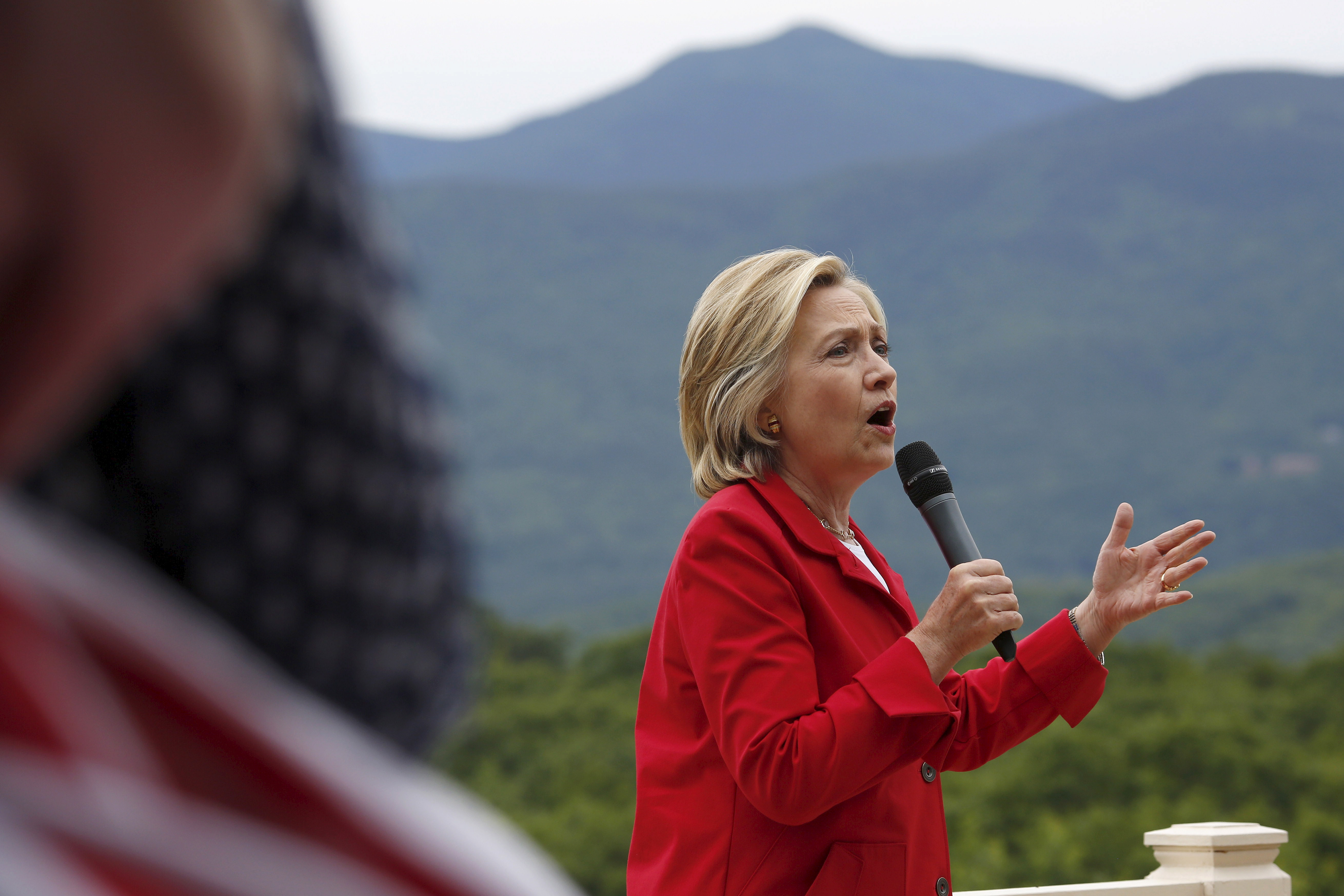 Former U.S. Secretary of State and Democratic presidential candidate Hillary Clinton speaks to supporters during a campaign event in Glen, N.H., on July 4, 2015