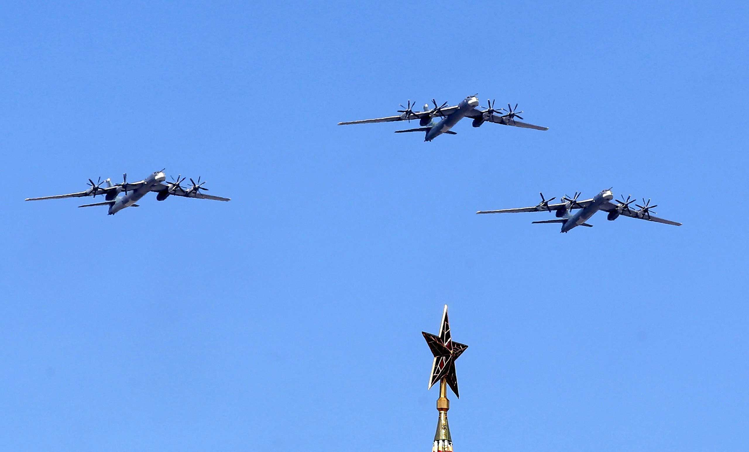 Russian TU-95 MS bombers and missile carriers above the Kremlin, during the rehearsal for the Victory Day military parade at the Red Square in Moscow, in May 2015.