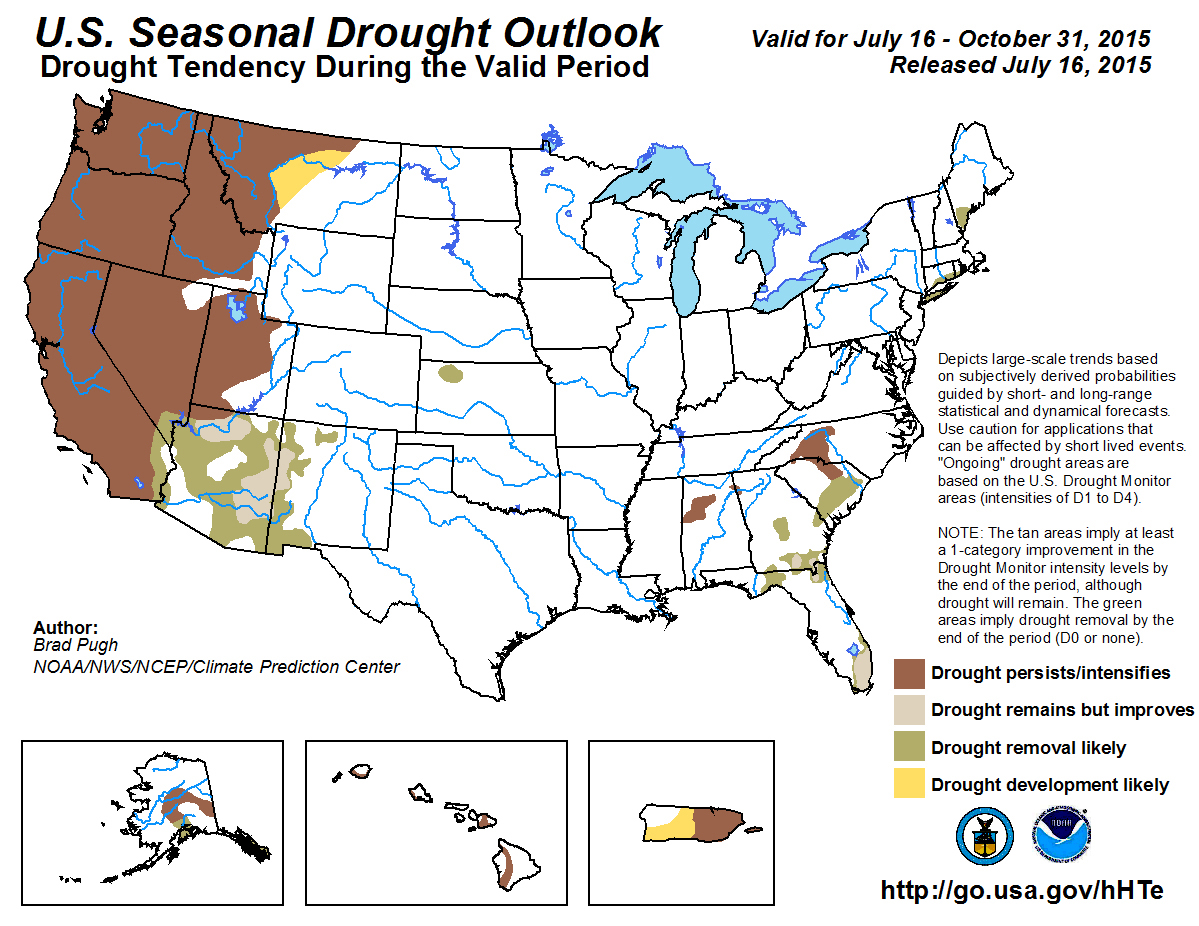 A small area in the Southeastern part of California, mapped in green, is likely to see drought end by October.