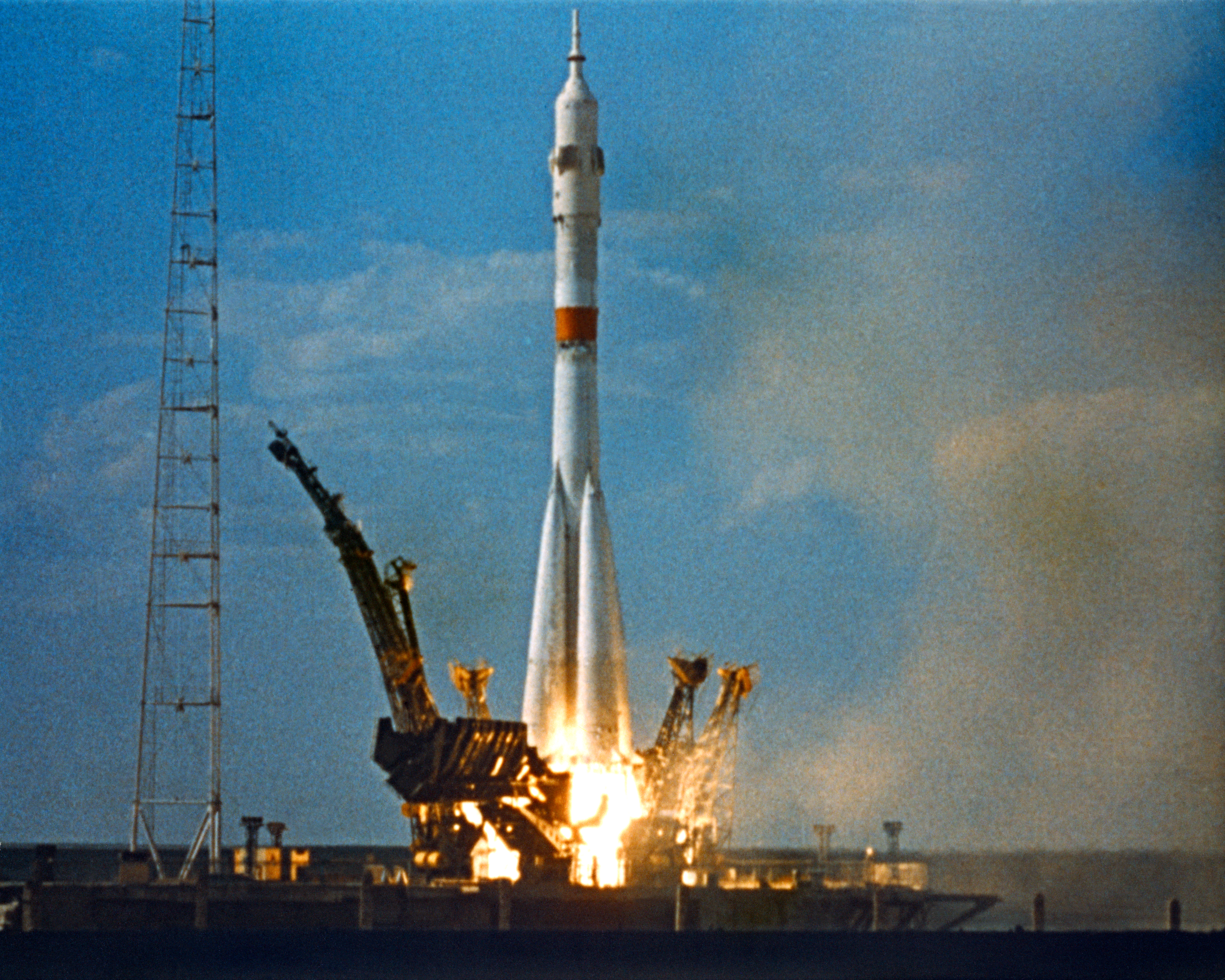 The Soviet Soyuz launch vehicle leaves from the Baikonur Cosmodrome in Kazakhstan.