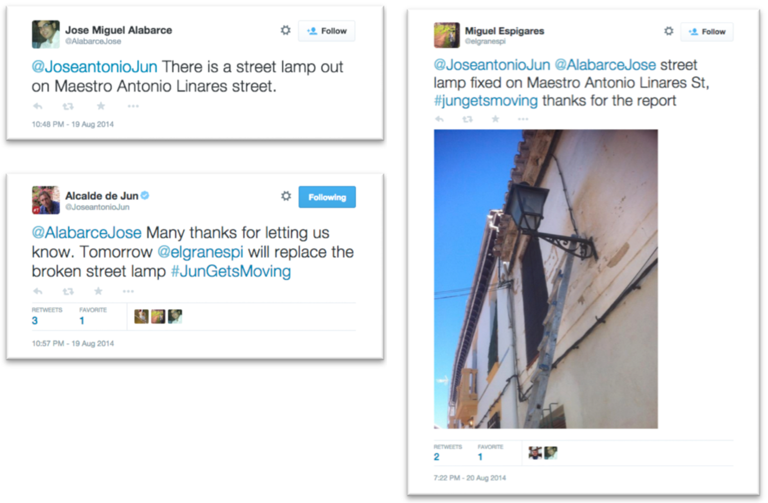 A citizen alerts the mayor to a broken street lamp. Two tweets later, it's fixed.