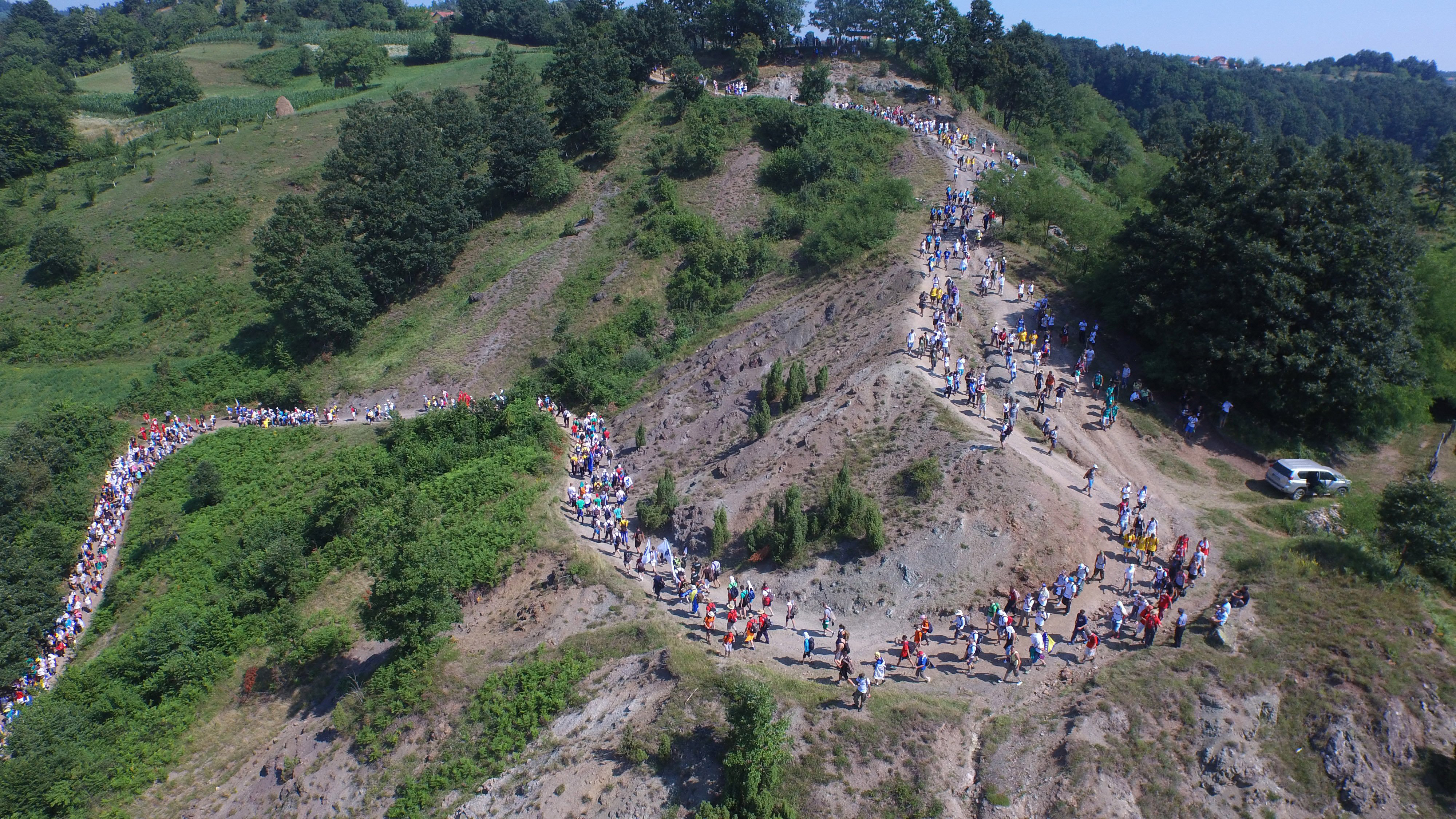 Participants in the  March of Peace  march through mountainous countryside near the village of Nezuk, 90 miles north east of Sarajevo, Bosnia on July 8, 2015.
