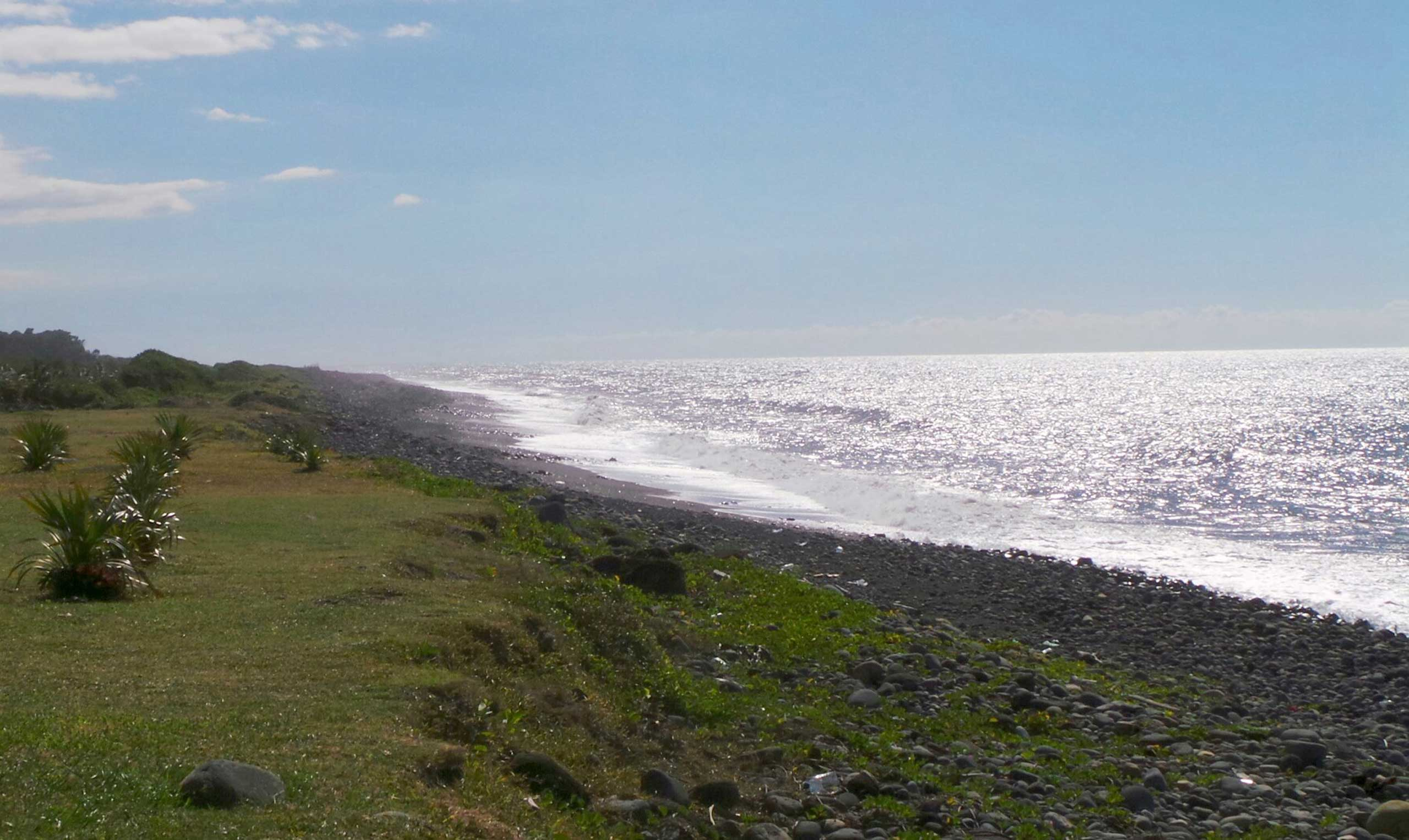 General view of the beach where a large piece of plane debris was found on Wednesday in Saint-Andre, on the French Indian Ocean island of La Reunion, on July 30, 2015.