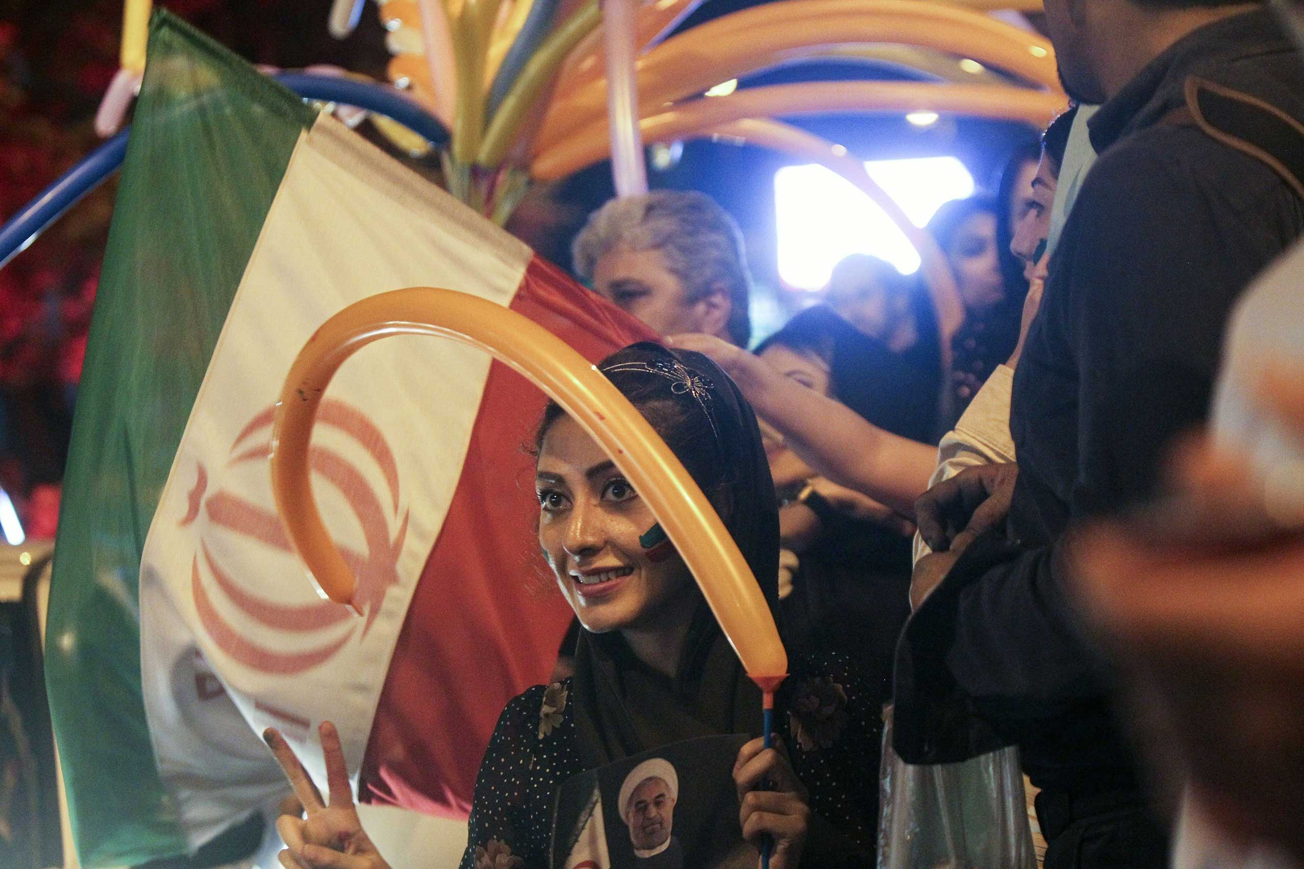 Iranians celebrate the nuclear agreement in Tehran on July 14, 2015.