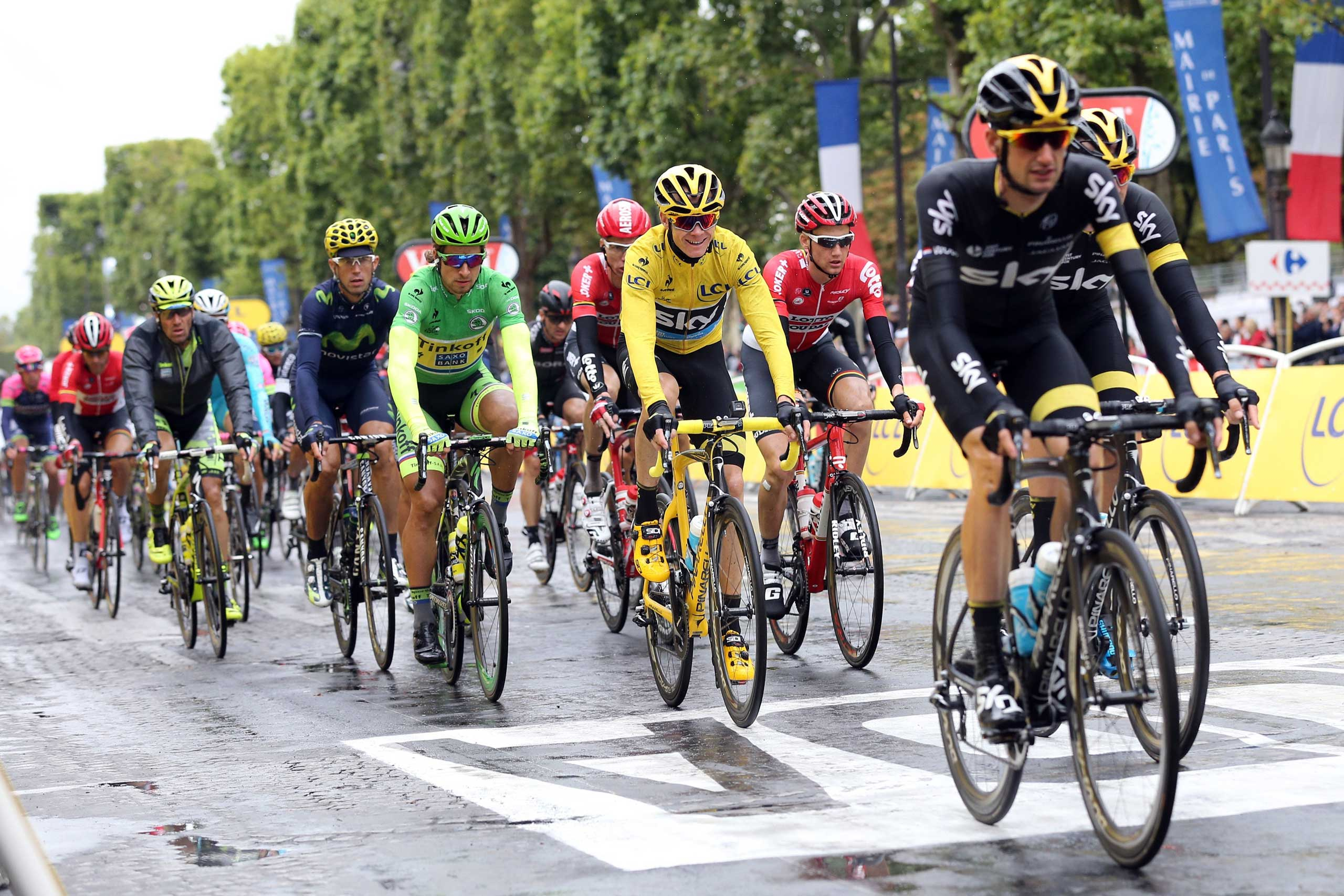 Chris Froome of Great Britain and Team Sky (yellow jersey) leads Peter Sagan of Slovakia and Tinkoff-Saxo during stage twenty one of the 2015 Tour de France in Paris on July 26, 2015.