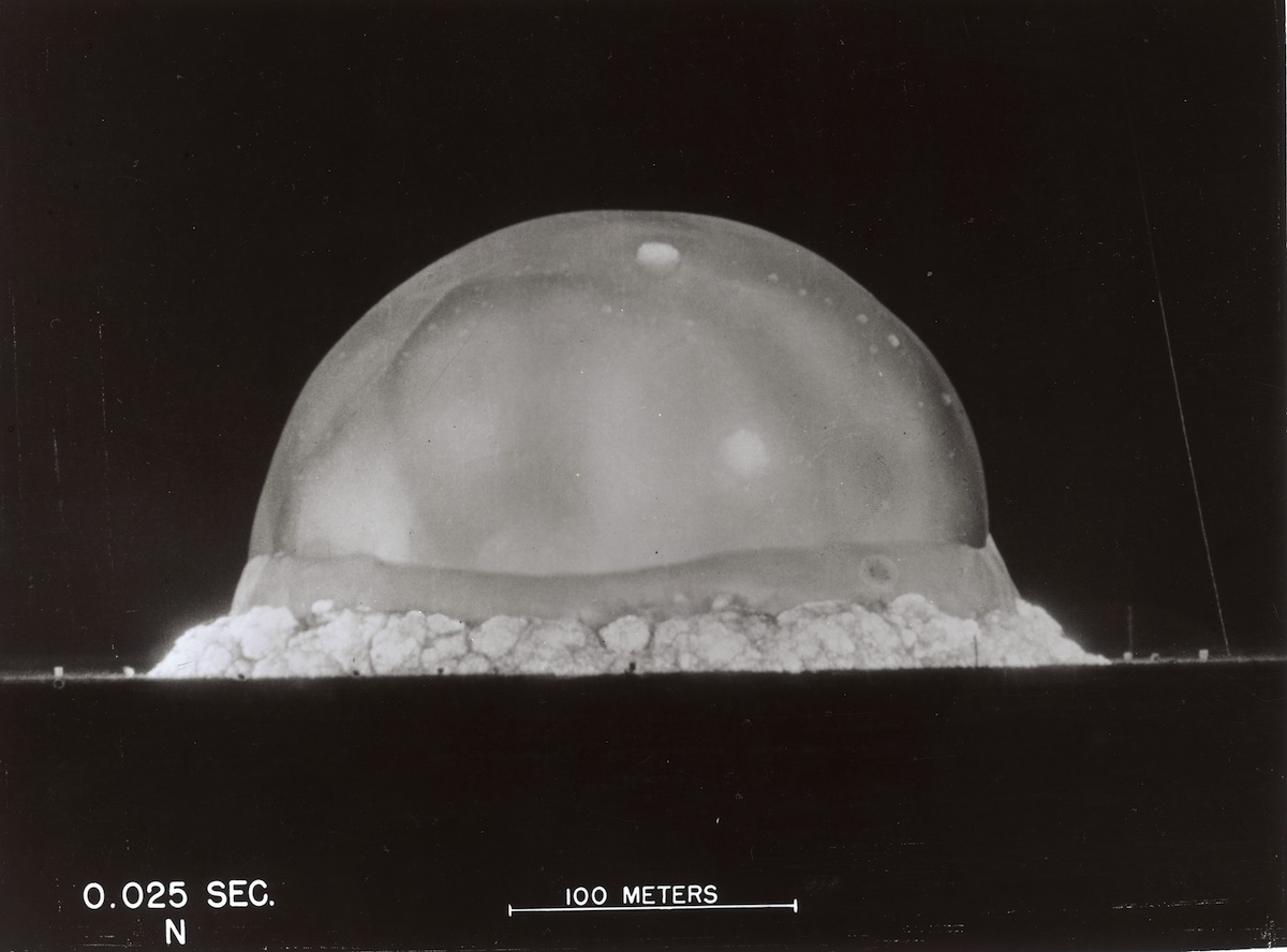 Image labeled '0.025 Sec' of the first Nuclear Test, codenamed 'Trinity', conducted by Los Alamos National Laboratory at Alamogordo, N.M., in 1945