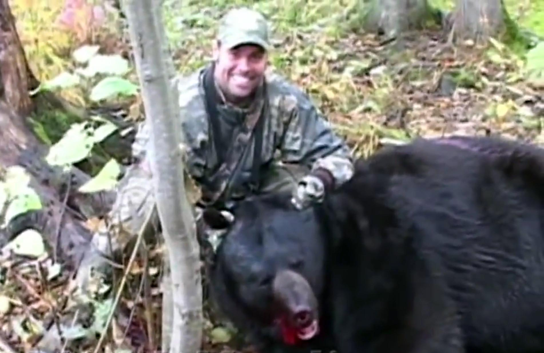 Troy Gentry, of the country singing duo Montgomery Gentry, killed this captive black bear in Minnesota in October 2004. He was sentenced to three months of probation and a $15,000 fine and was banned from hunting in Minnesota for five years.