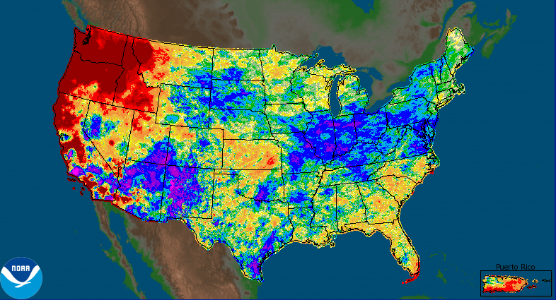 Areas in red experienced considerably less precipitation in the last 30 days than average. Blue and purple regions experienced up to six times the average. Red regions received a small fraction of the typical rainfall.