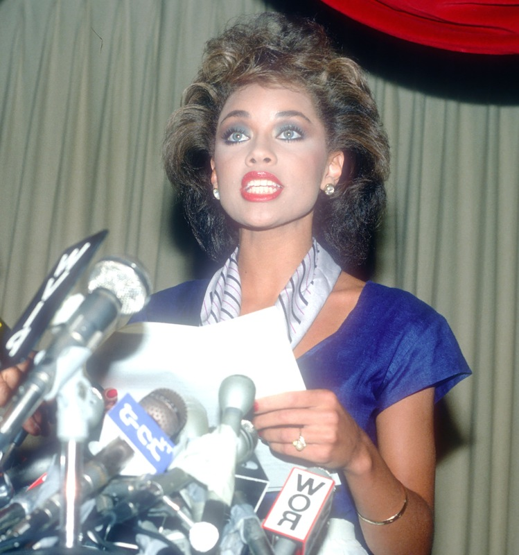 Vanessa Williams resigns her Miss America title, July 23, 1984, in New York City.