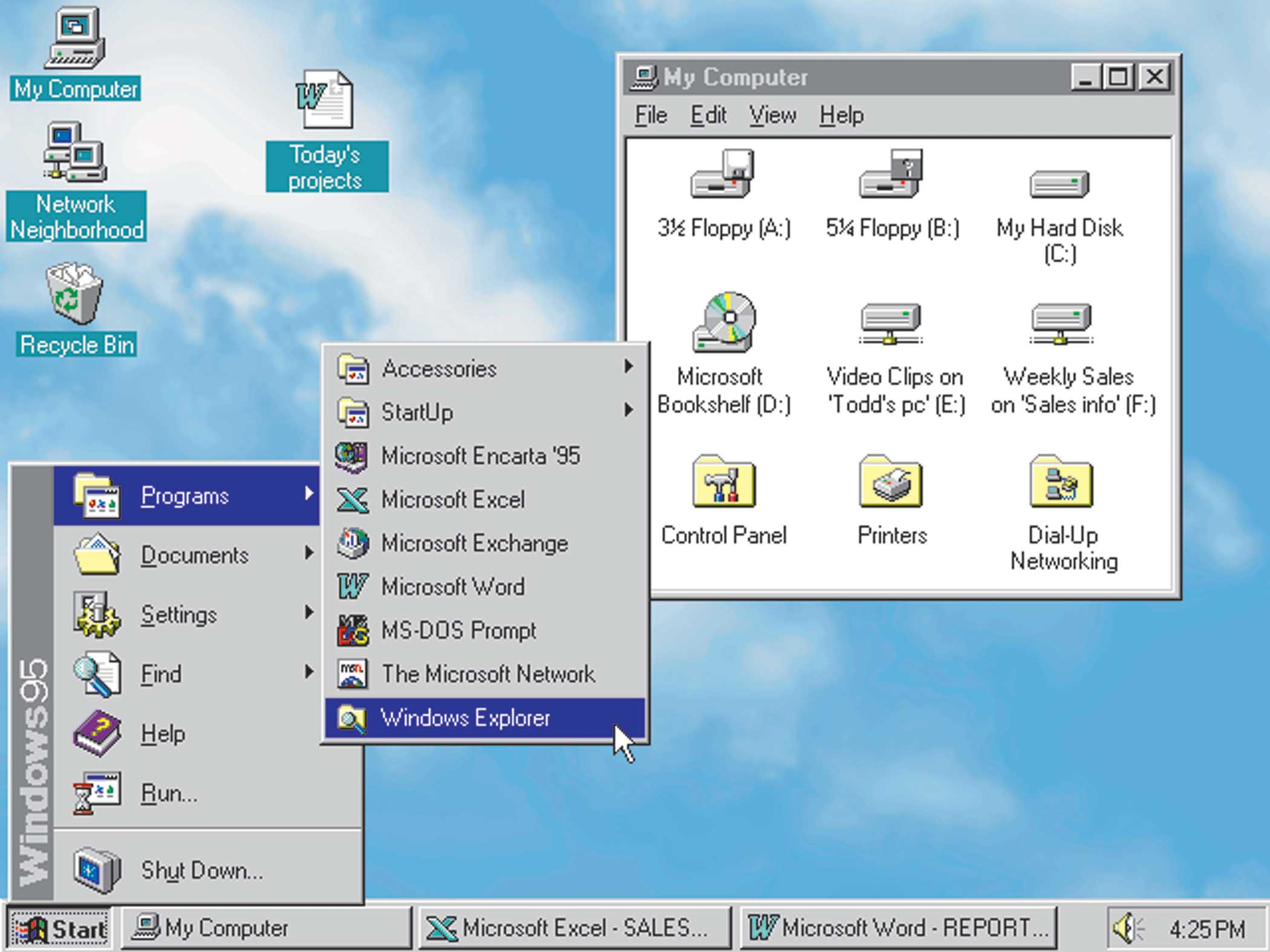 <strong>Windows 95 </strong> released on August 24, 1995, equipping users with their first Start menu, as well as minimize and maximize buttons. Roughly 8 in 10 of the world's PC's were running Windows at the time of its release.