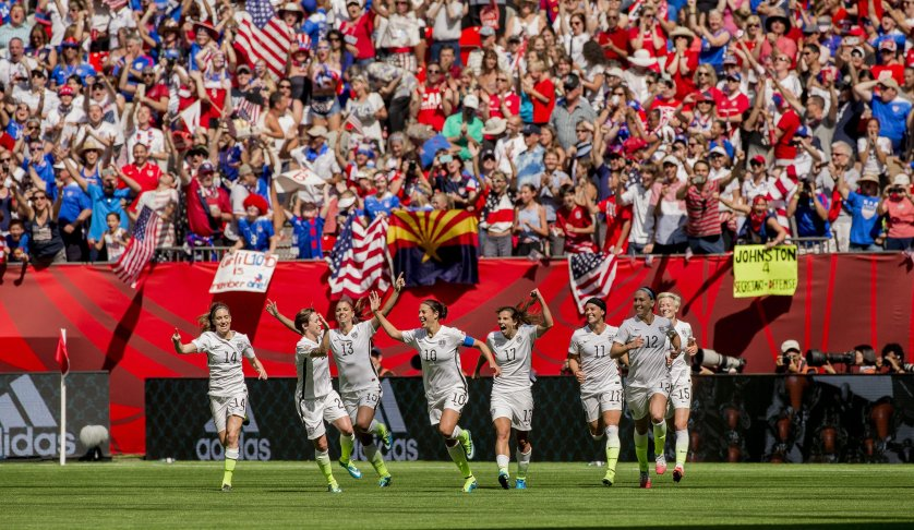 Carli Lloyd of the United States celebrates her second goal of the first half with teammates during the FIFA Women's World Cup 2015 Final match between USA and Japan in Vancouver, on 05 July 2015.