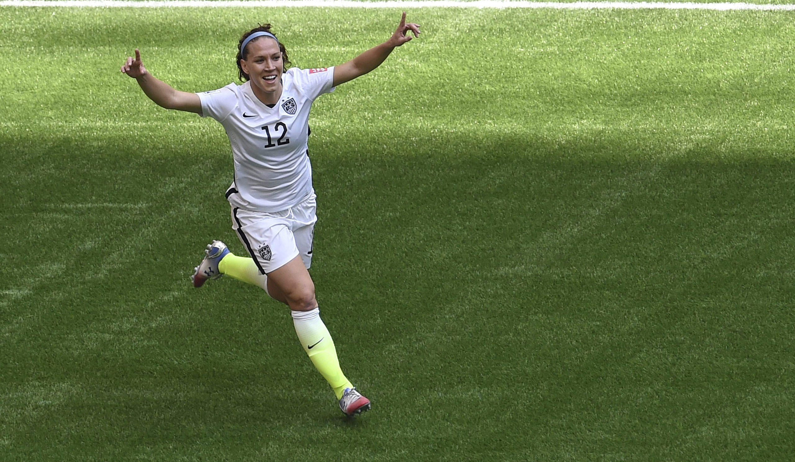 Lauren Holiday celebrates her goal against Japan during the final match of the 2015 FIFA Women's World Cup at the BC Place Stadium in Vancouver on July 5, 2015.