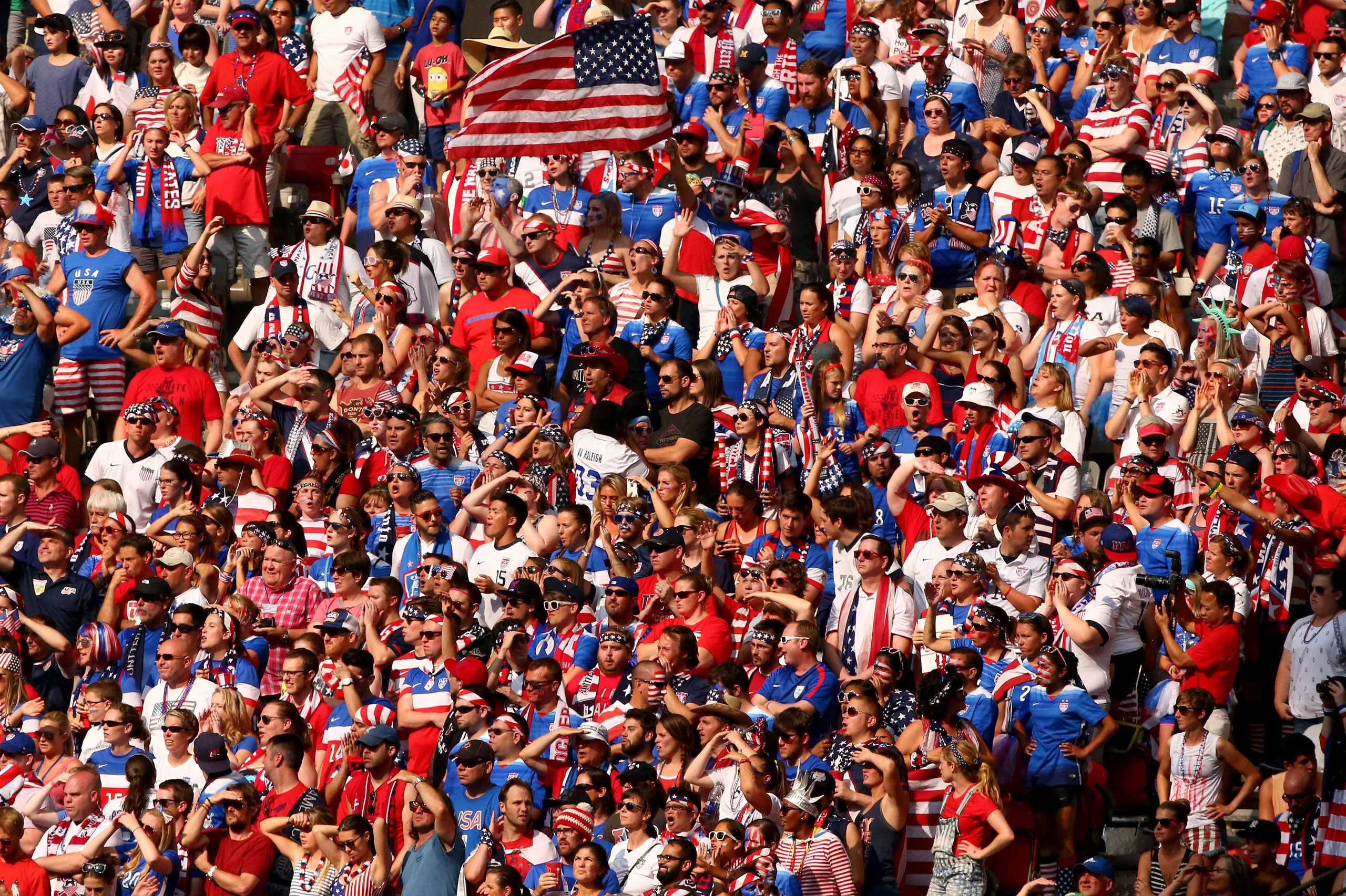 Fans cheer in the second half of the match between the U.S. and Japan, in the 2015 FIFA Women's World Cup at the BC Place Stadium in Vancouver on July 5, 2015.