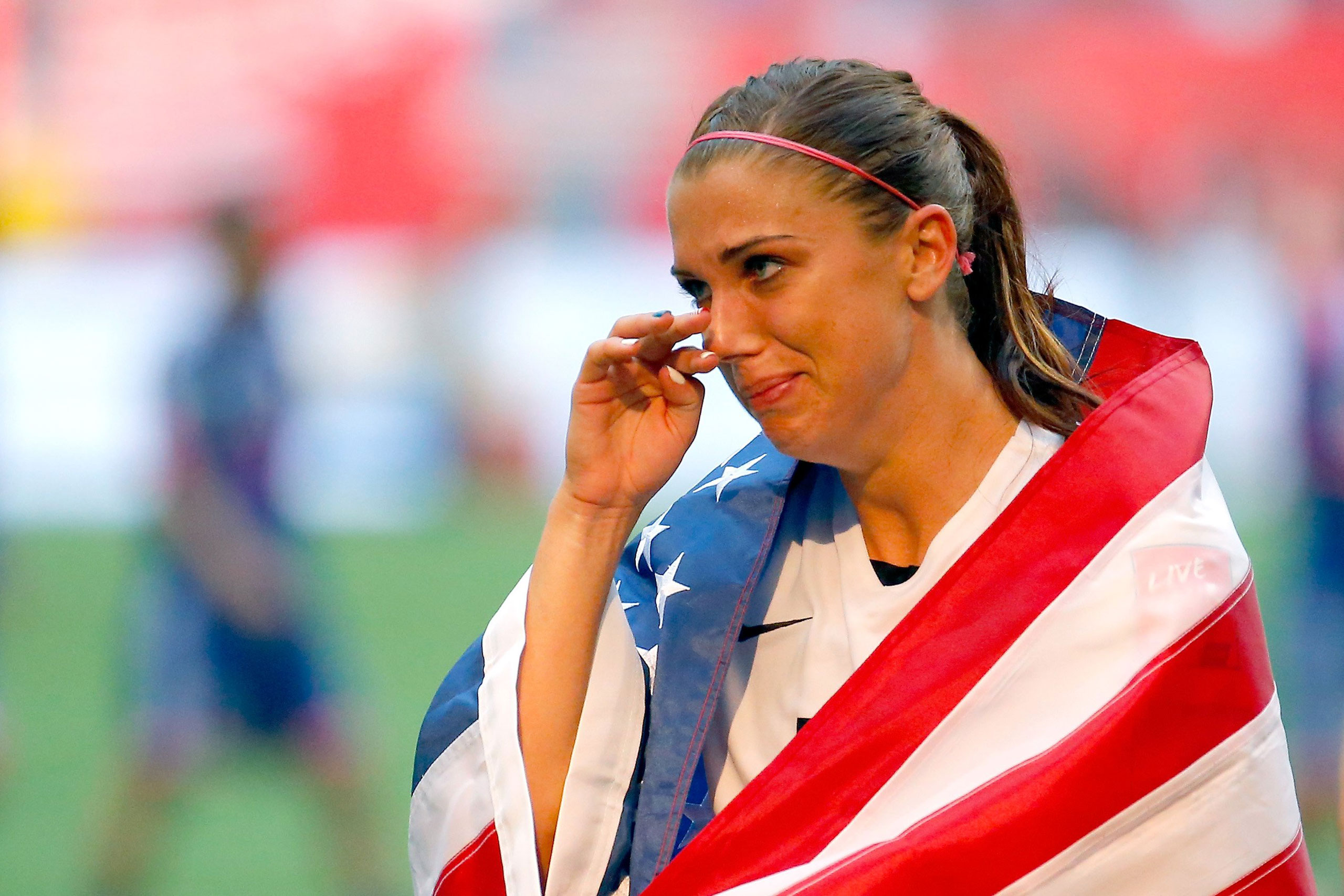 Alex Morgan celebrates the 5-2 victory against Japan in the final match of the 2015 FIFA Women's World Cup at the BC Place Stadium in Vancouver on July 5, 2015.