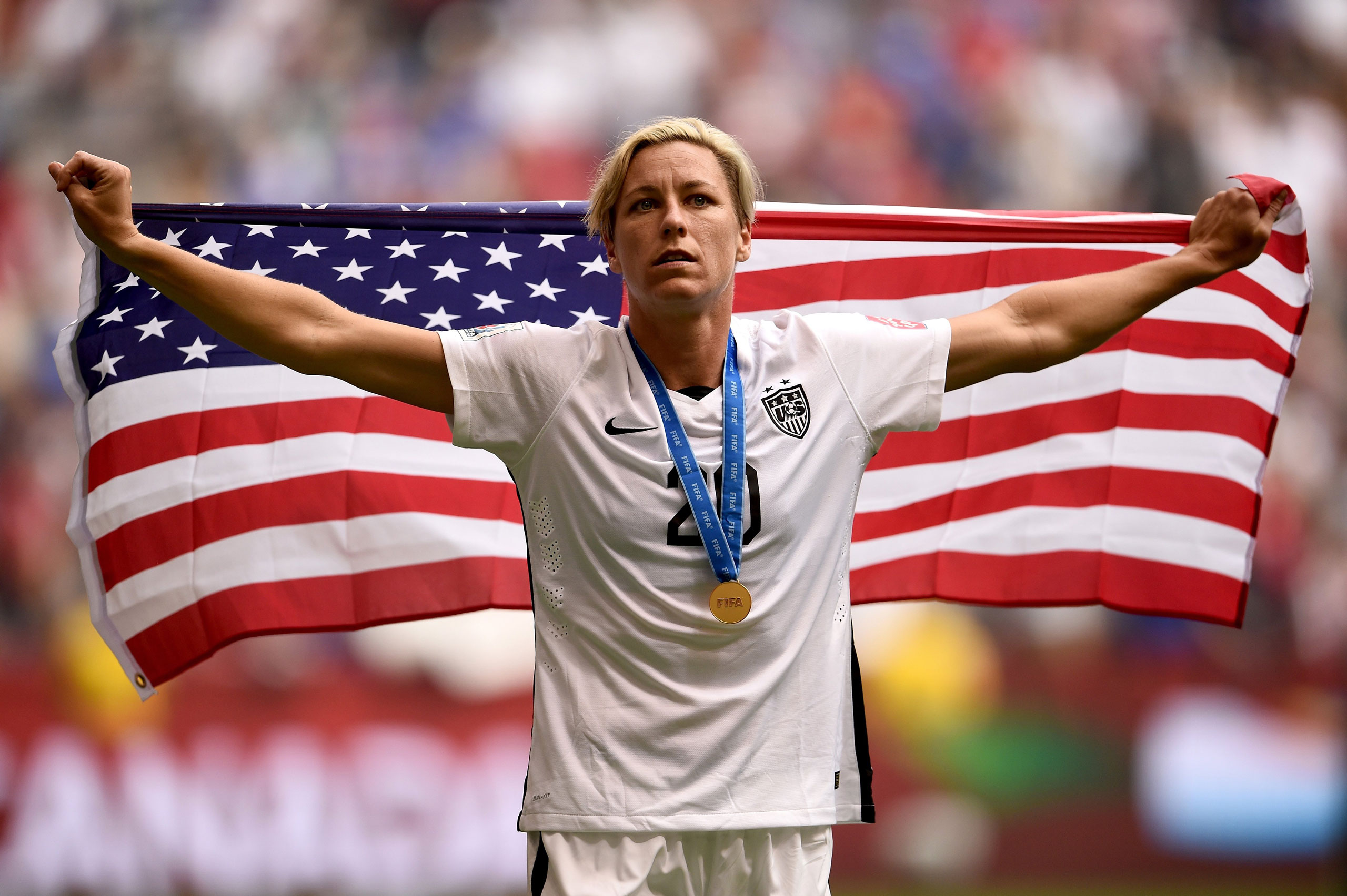 Abby Wambach celebrates the 5-2 victory against Japan in the final match of the 2015 FIFA Women's World Cup at the BC Place Stadium in Vancouver on July 5, 2015.