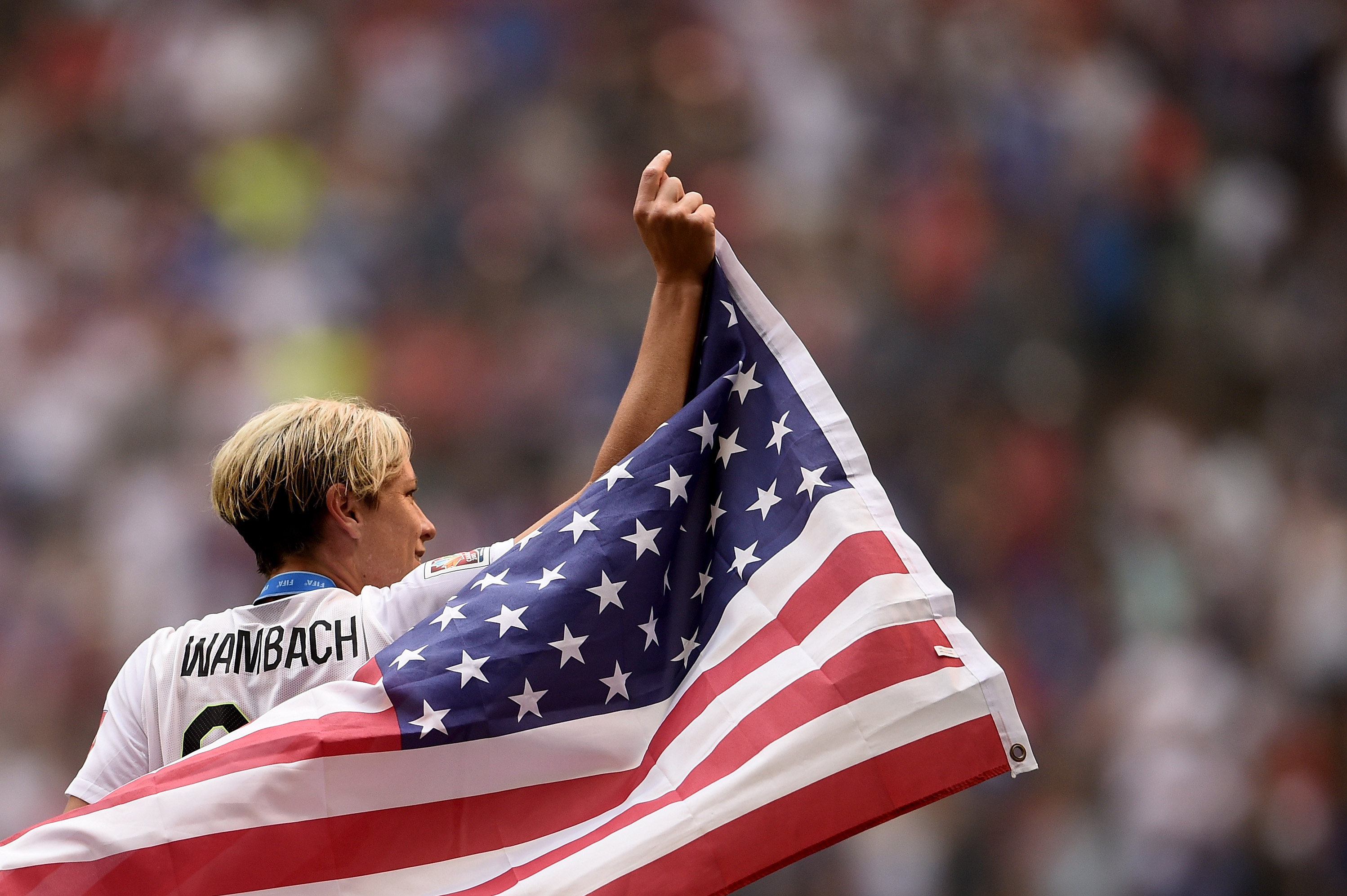 Abby Wambach of the U.S. celebrates after their 5-2 win over Japan in the FIFA Women's World Cup 2015 Final at BC Place Stadium in Vancouver on July 5, 2015.