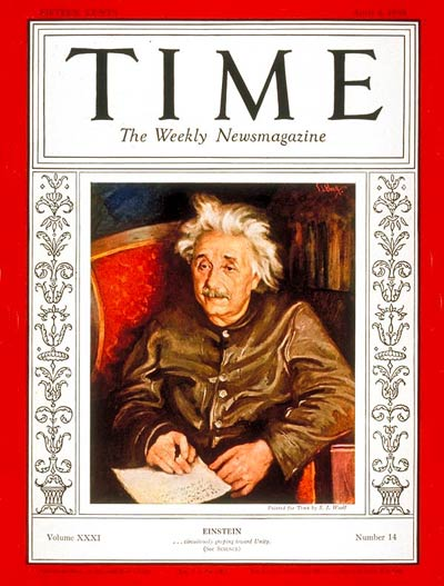 Albert Einstein on the Apr. 4, 1938, cover of TIME. Though better known for his discoveries than for his inventions, Einstein did co-invent a new kind of refrigerator. He also appeared on the cover of TIME five other times.