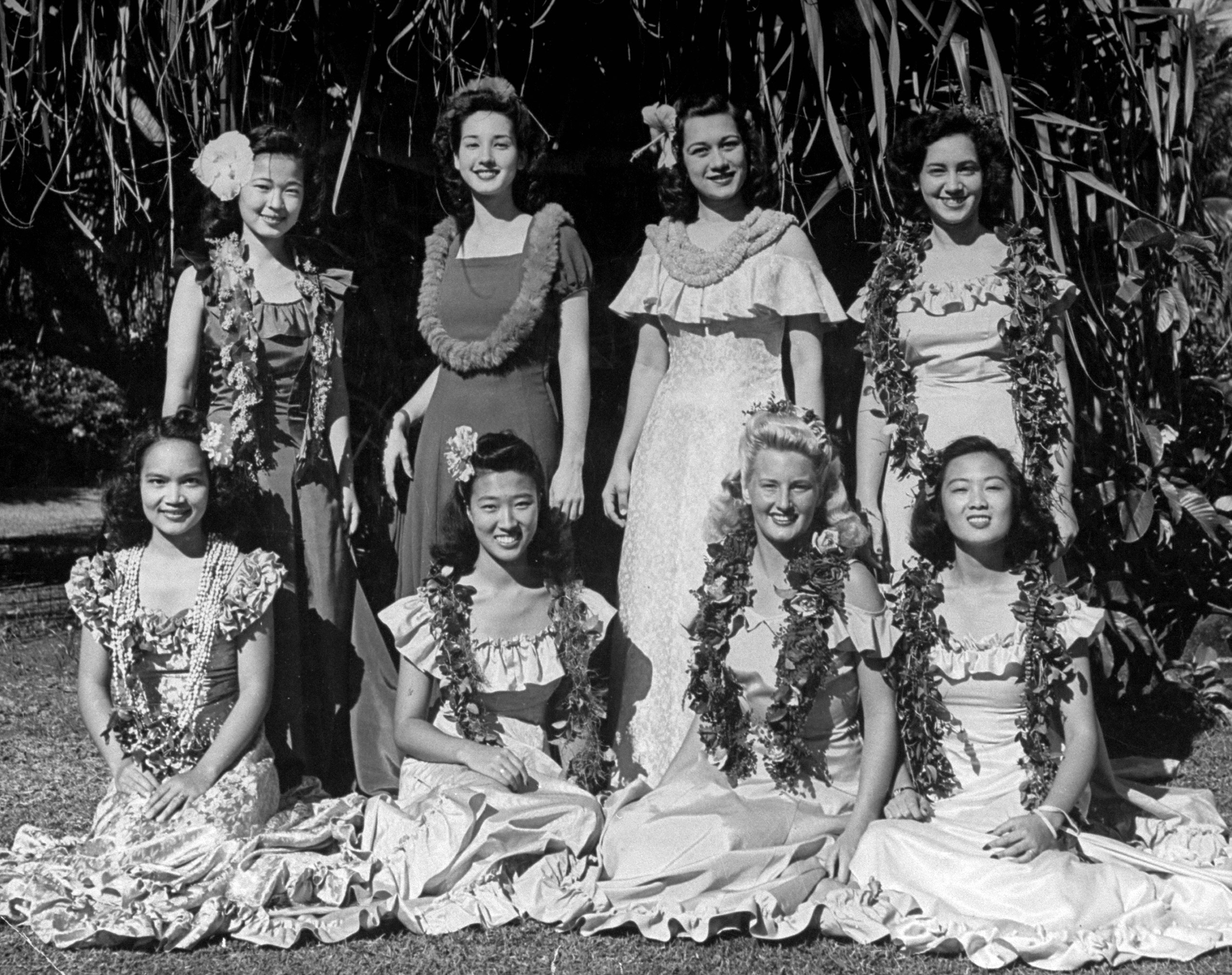 Eight University of Hawaii students are chosen by the student body to serve as Princesses and Queen in the annual May Day ceremony held at the University.