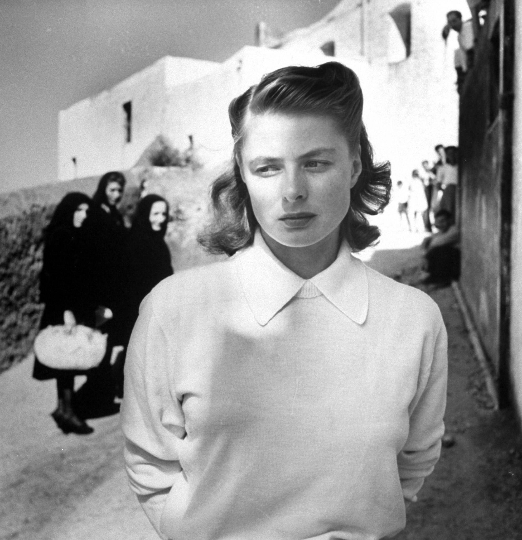 Ingrid Bergman on location for the film Stromboli, in 1949.