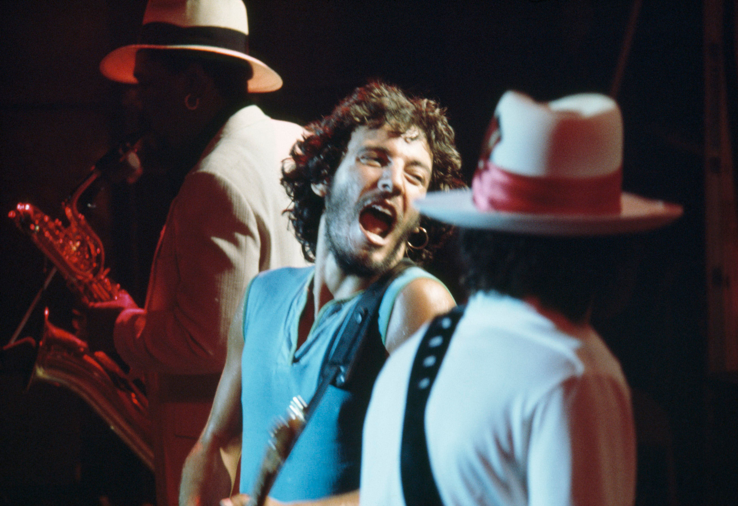 Bruce Springsteen and the E Street Band performing at the Bottom Line in New York City, in their biggest performance of their career up to that point.