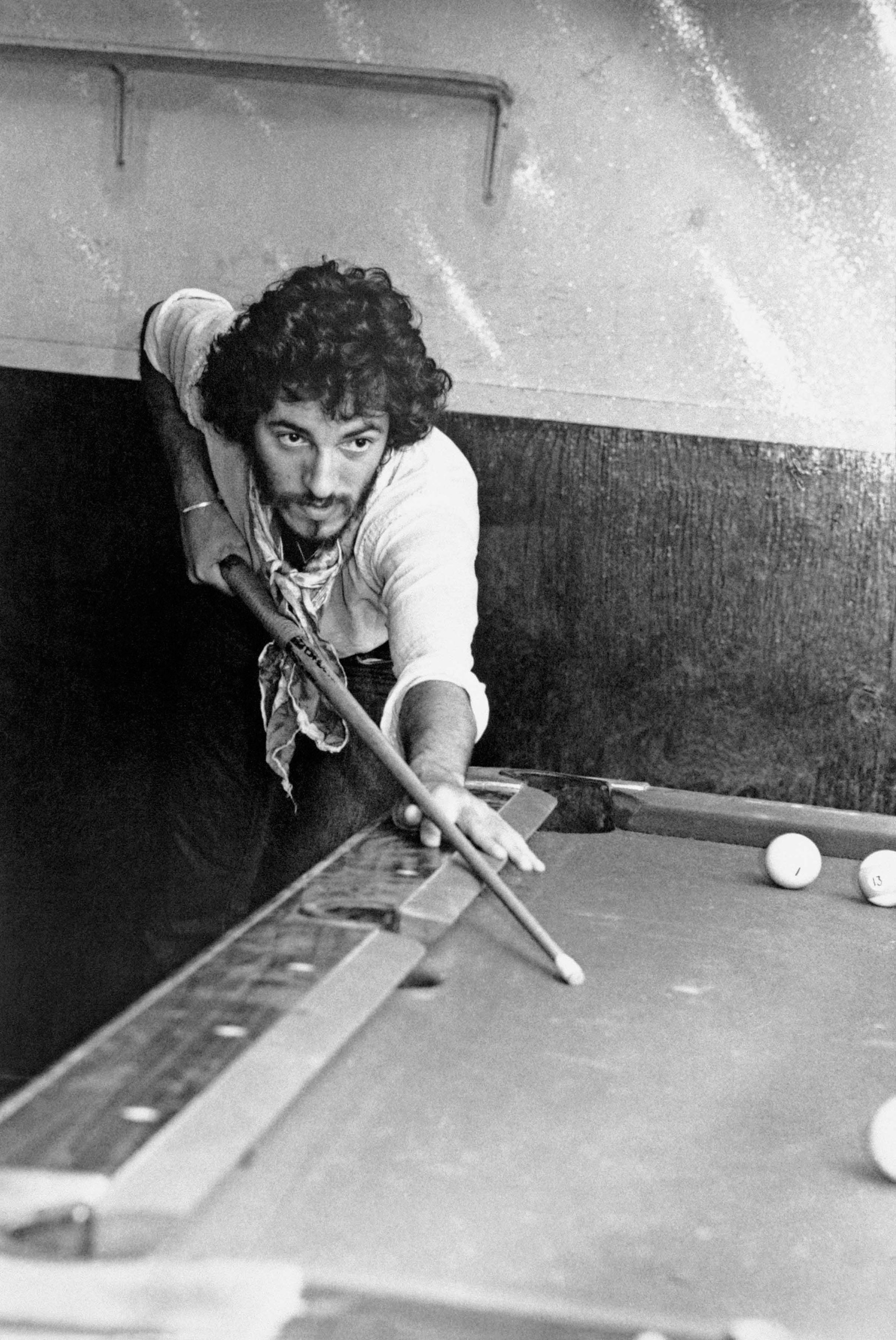 Springsteen playing pool at Lee Dorsey's Ya-Ya Lounge in New Orleans.
