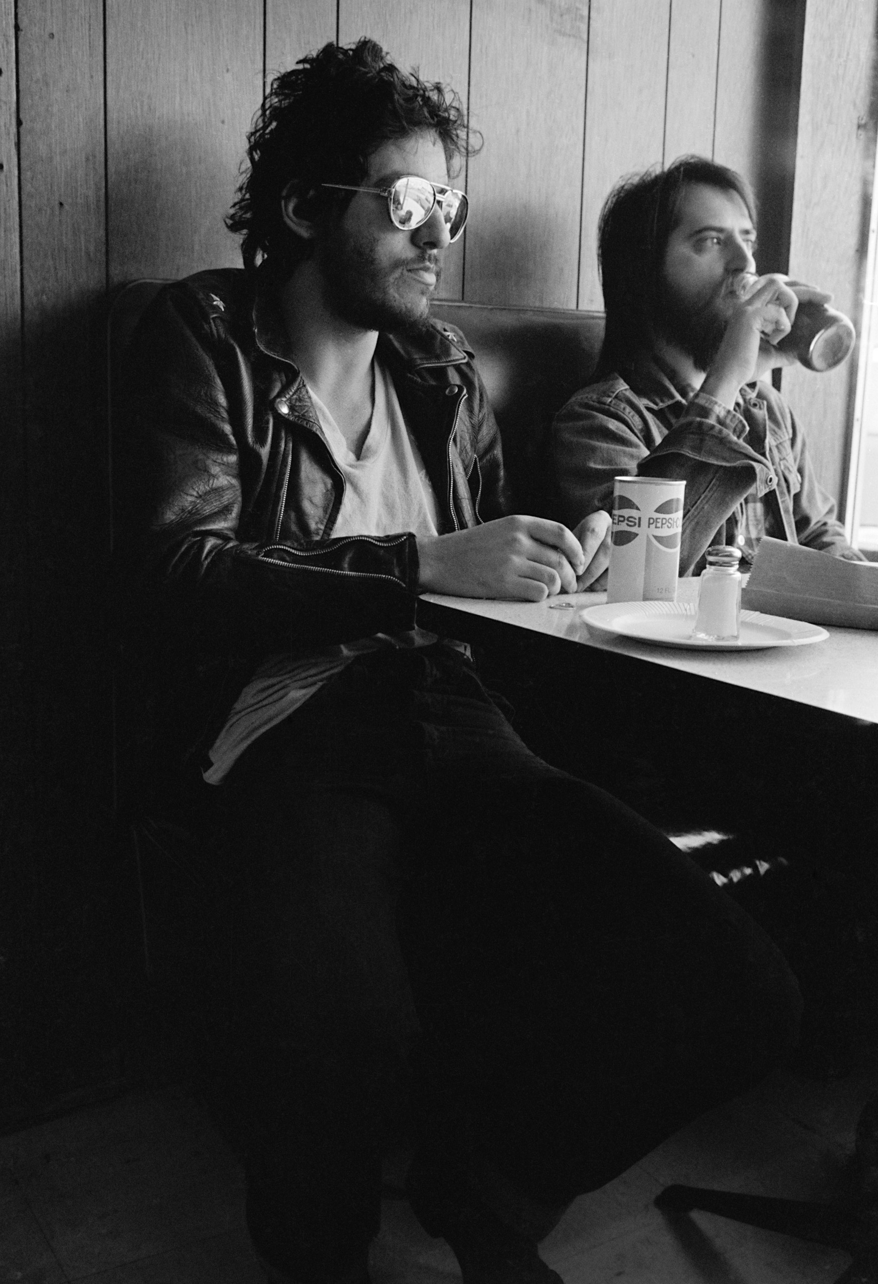 "Springsteen at a diner near the 914 recording studio in Blauvelt, New York, during the recording of the song ""Born to Run."""